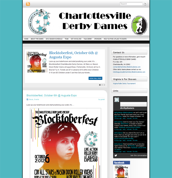 A screenshot of the Dames' website, ca. 2012 (MSS MSS 15490).  Compare with the Team's current page: http://www.charlottesvillederbydames.com.