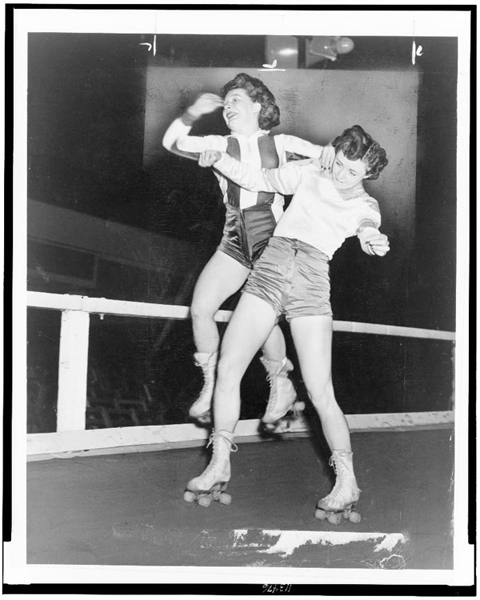 Roller derby in the fifties was pretty rough and tumble, but with no protective gear (image courtesy of the Library of Congress, Prints and Photographs division: http://www.loc.gov/pictures/resource/cph.3c13476/)