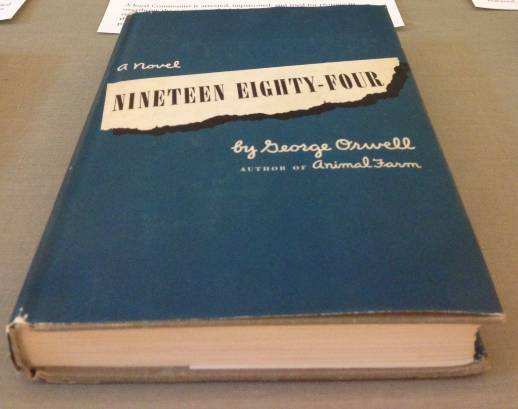 The first American edition of George Orwell's Nineteen Eighty-Four (New York: Harcourt Brace, 1948). (Z239 .C53 Z99 .O78 N56 1949. Gift of Warren Chappell. Photo by Molly Schwartzburg).