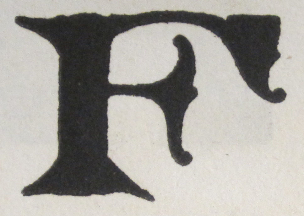 F is for Fancy Roman,  which is one of 75 alphabets represented in Frank H. Atkinson's Atkinson Sign Painting up to Now: A Complete Manual of Sign Painting. Chicago: Frederick J. Drake & Co., 1915 (not yet catalogued. Gift of Nicholas Curtis. (Photograph by Petrina Jackson)