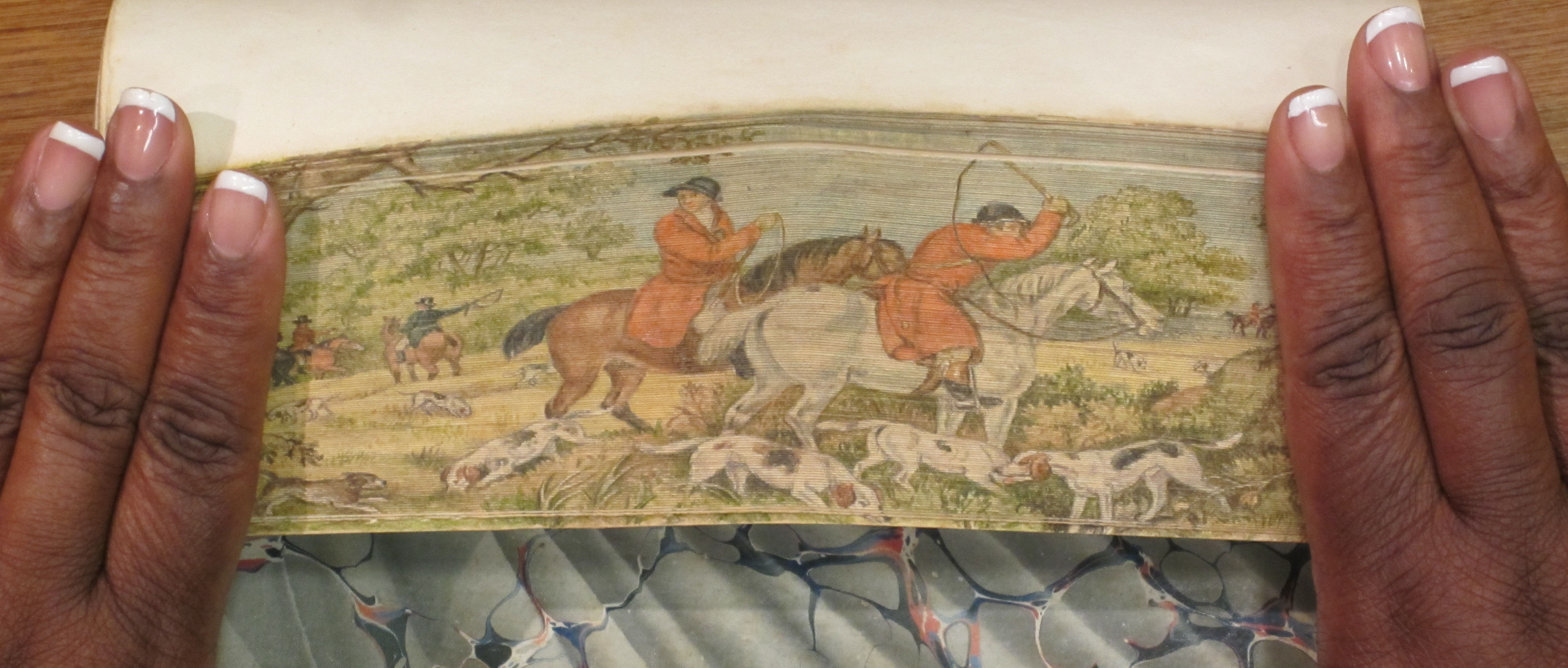 First fore edge painting from Thoughts on Hunting: