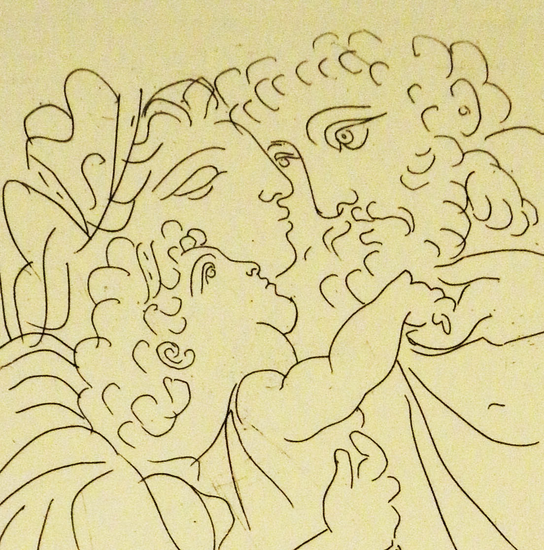 Detail of an etching from Six Signed Proofs of Original Etchings of Pablo Picasso: Made to illustrate an edition of Aristophanes' Lysistrata, 1934. (ND553 .P5 1934. Gift of T. Catesby Jones. Photograph by Donna Stapley.)