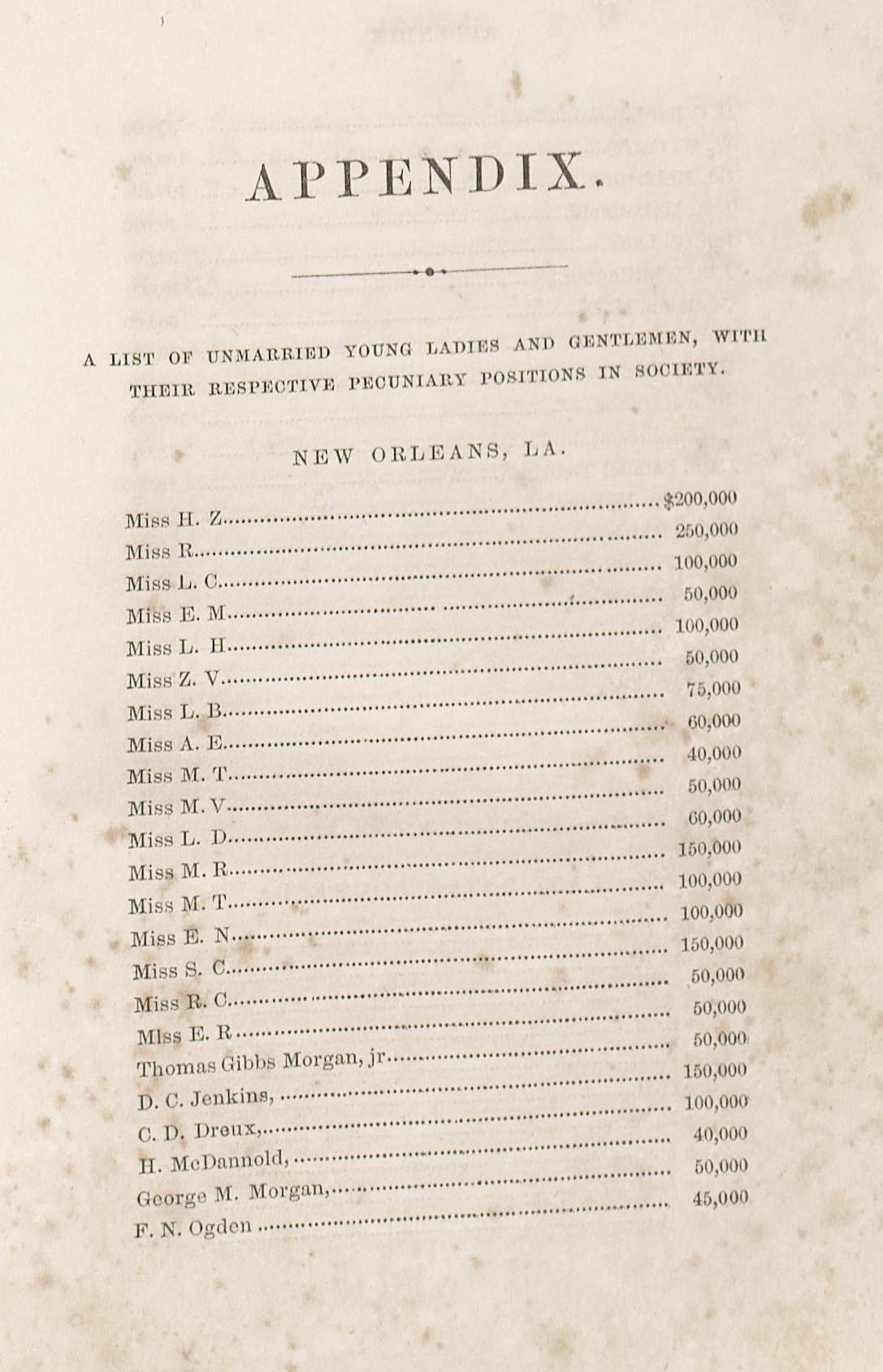 When money is THE object: one way to select a spouse in the Antebellum South, as explicated in S. S. Hall, The bliss of marriage: or, How to get a rich wife. (New Orleans: J. B. Steel, 1858)