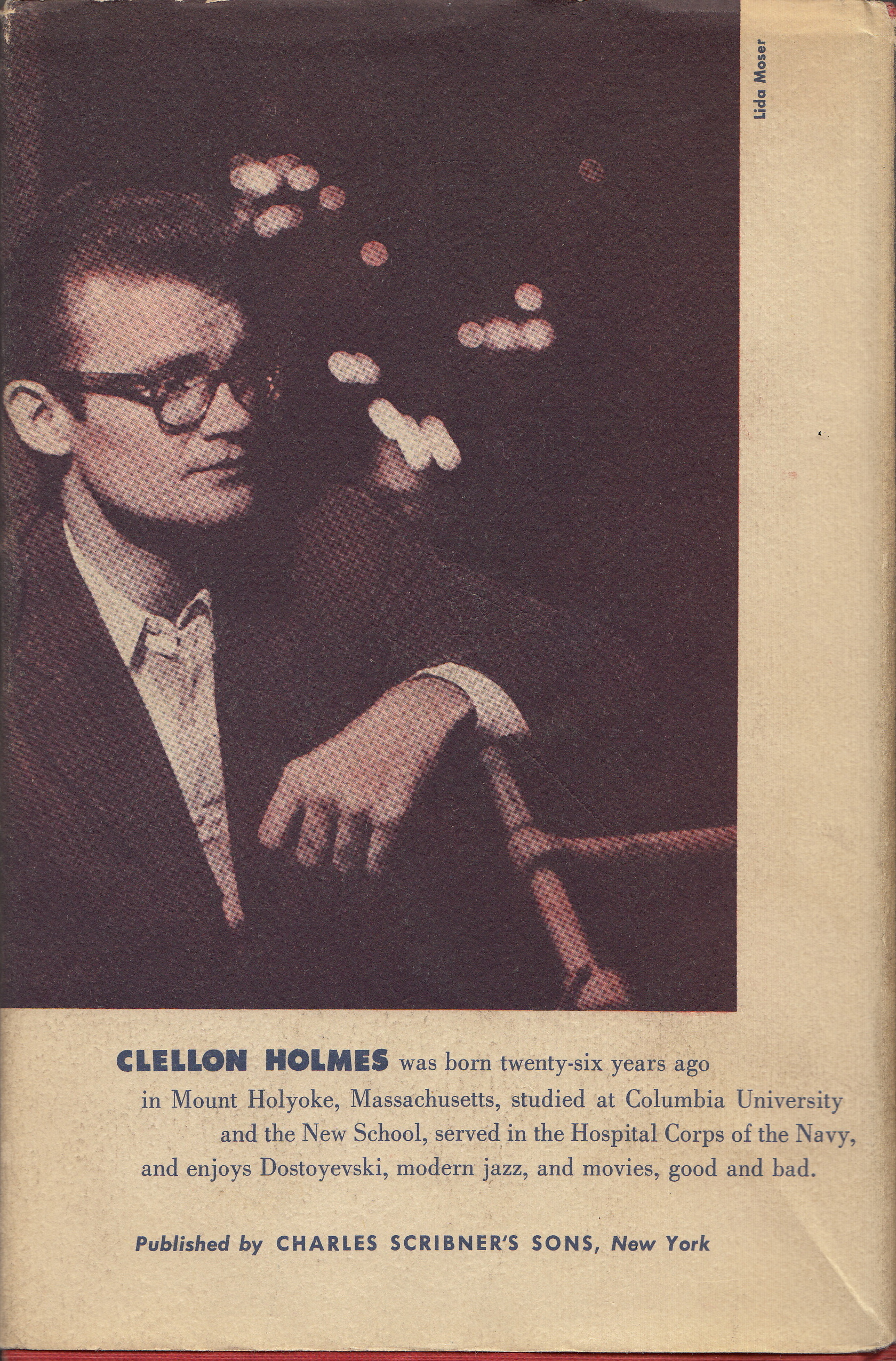 Photograph of John Clellon Holmes on the back cover of the first edition of Go.