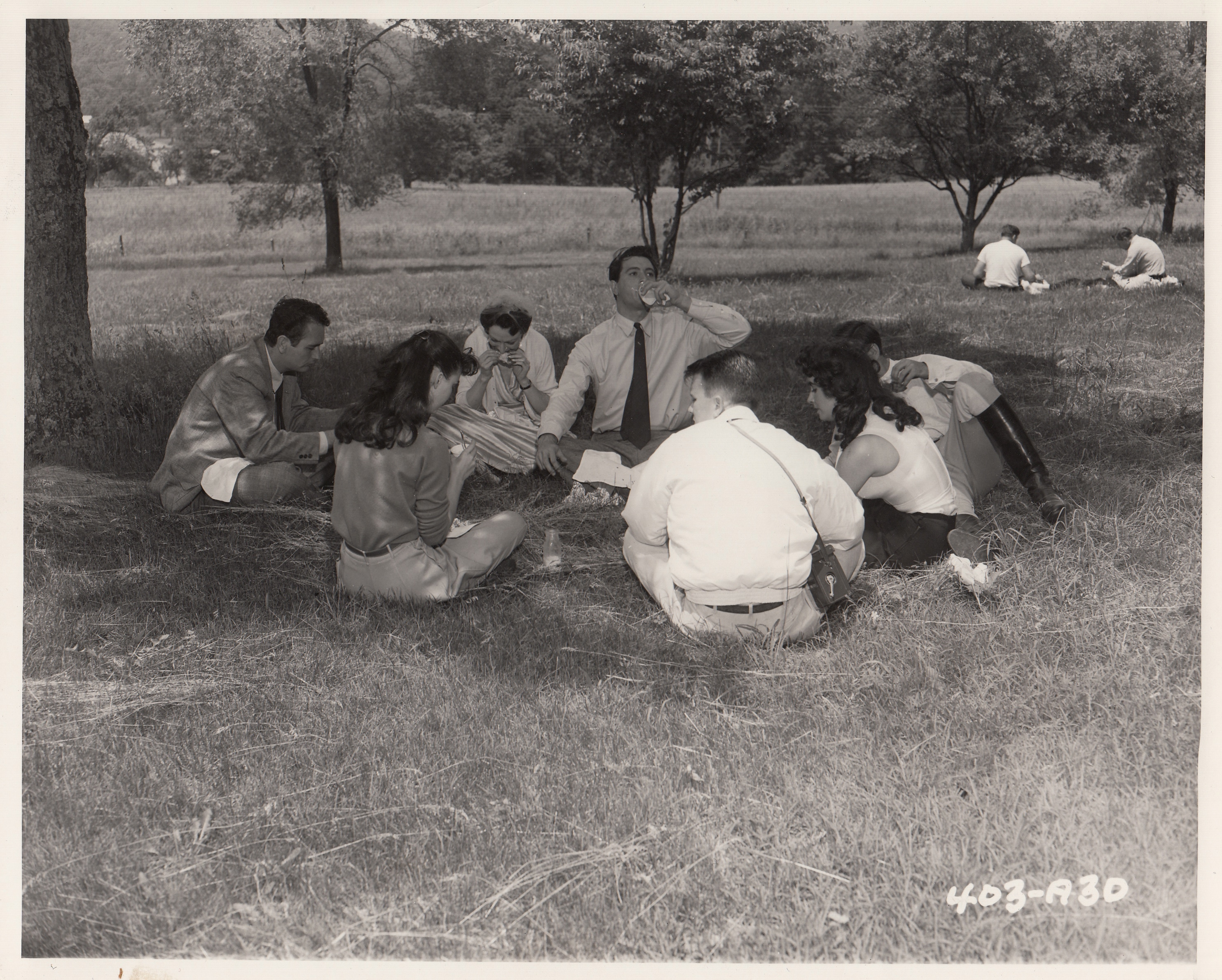 "On Location--Charlottesville, Virginia, shooting George Stevens' production Giant.  (L. to R.) Bob Hinkle, stand-in for Rock Hudson, and also stunt rider, Judith Evelyn, Rock Hudson, Elizabeth Taylor, George Stevens, and Carolyn Craig. Taking time out for picnic style lunch on lawn of ""Belmont"" plantation during early scene of Giant, ca. 1956. Photographer unknown. (Prints File. Image by Petrina Jackson)"