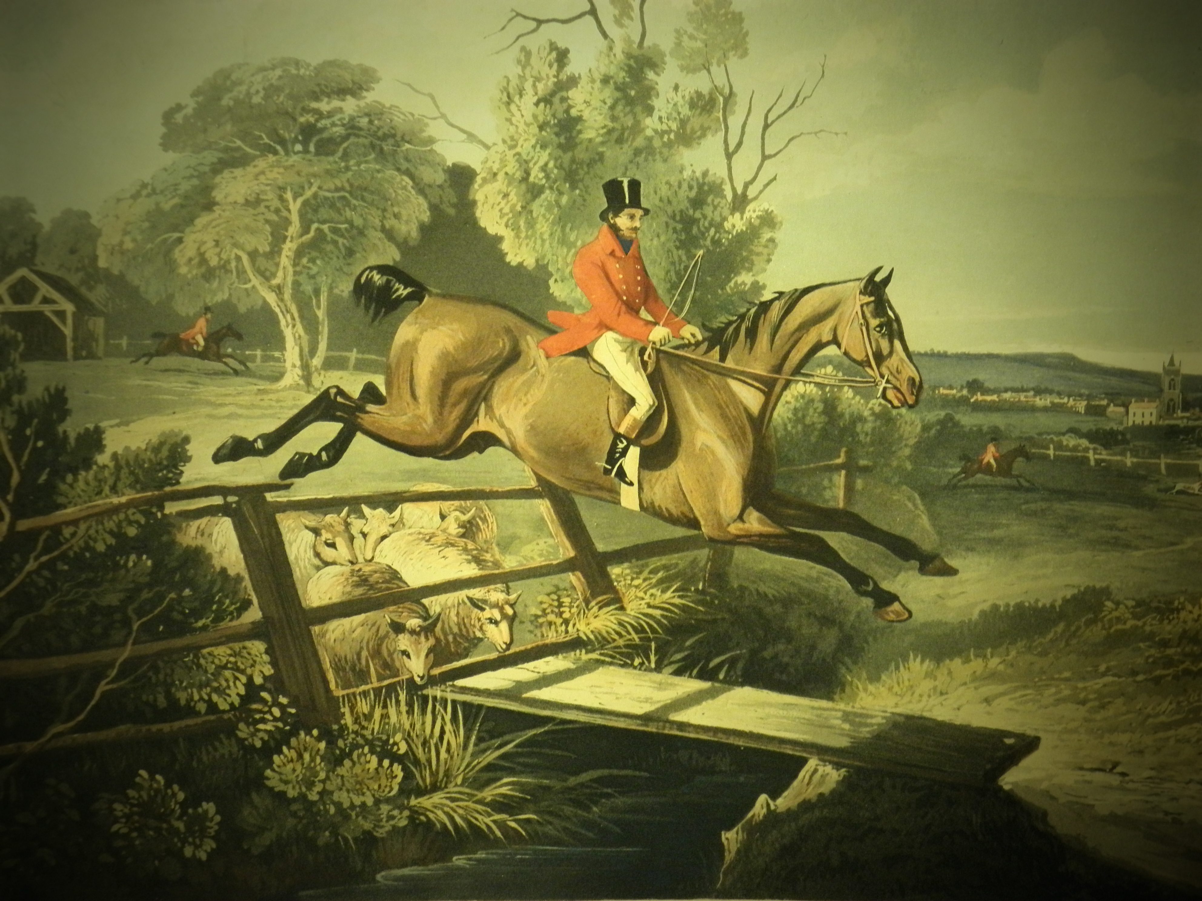 A hand colored aquatint from Count Sandor's Hunting Exploits in Leicestershire By John Ferneley, 1833. (SK 285 .C68 1833)