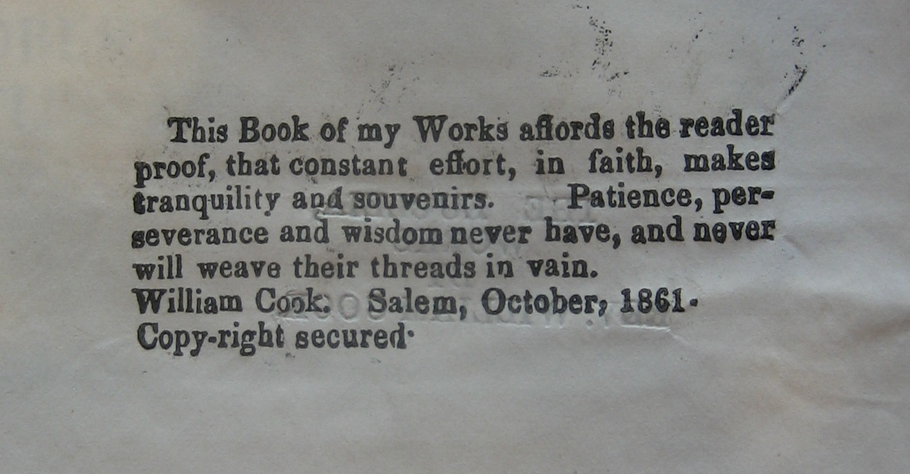 Title page verso to William Cook, the Eucleia: works (Salem, Mass., ca. 1865)