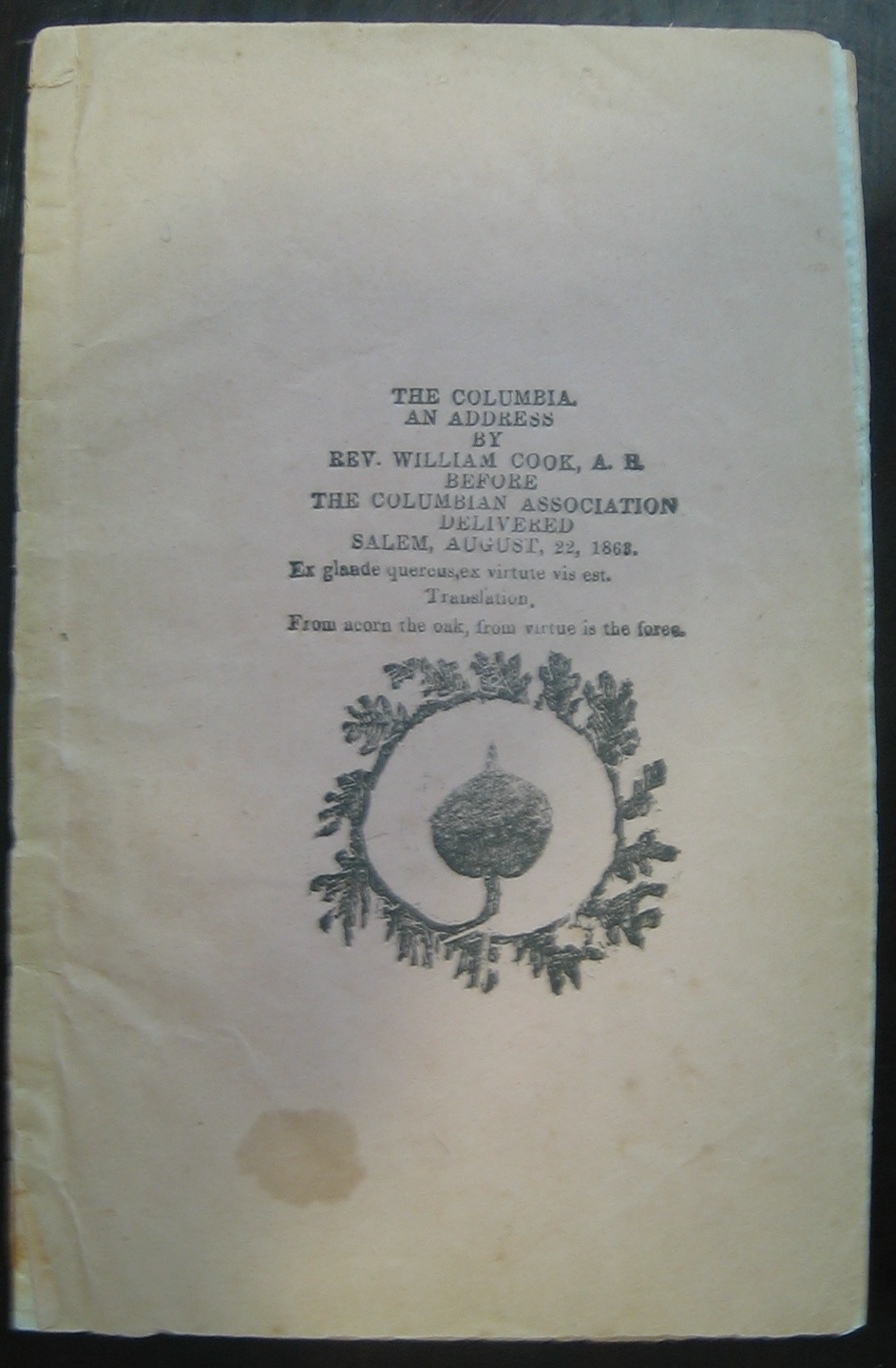 Frotn cover of Cook's The Columbia (Salem, Mass., 1863) (Barrett PS586 .Z93 .C673 C6 1863)