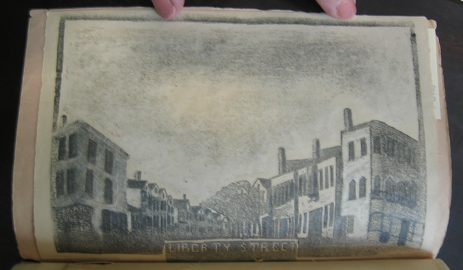 Many of Cook's woodcut illustrations (this one heightened with pencil) are useful contemporary depictions of Salem street scenes, such as this view of Liberty Street.  William Cook, The Columbia (Salem, Mass., 1863) (Barrett PS586 .Z93 C673 C6 1863)