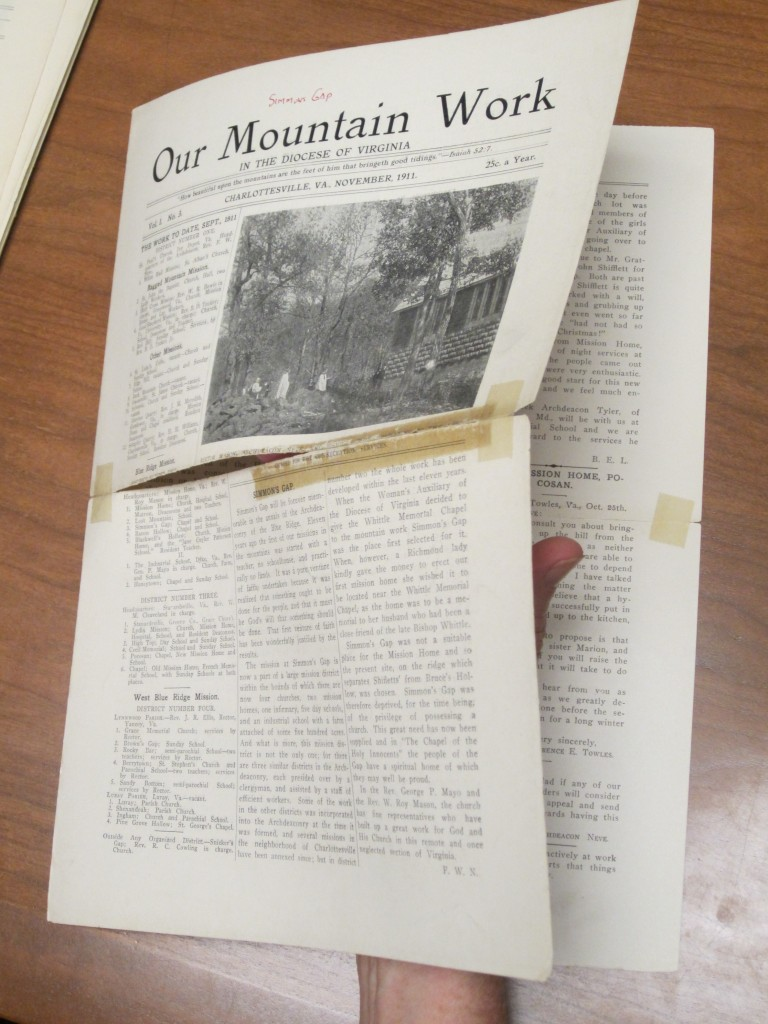 This image reveals some of the conservation problems inherent in these ephemeral issues of the magazine. _Our Mountain Work_ 1.3 (November 1911) (BV2575 . 082. Photograph by Petrina Jackson).