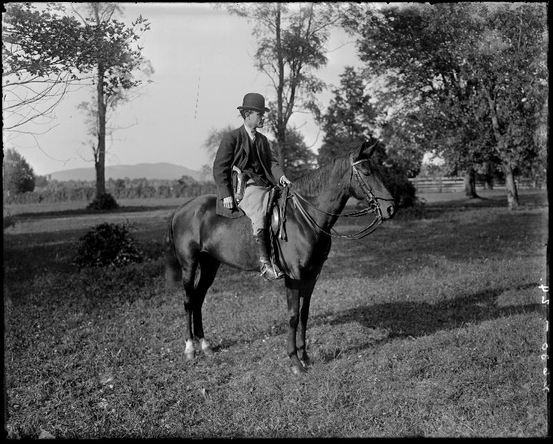 John Armstrong Chaloner (Chanler) seated on a horse, 30 September 1912. (Holsinger Studio Collection. Image by U.Va. Digitization) Services)