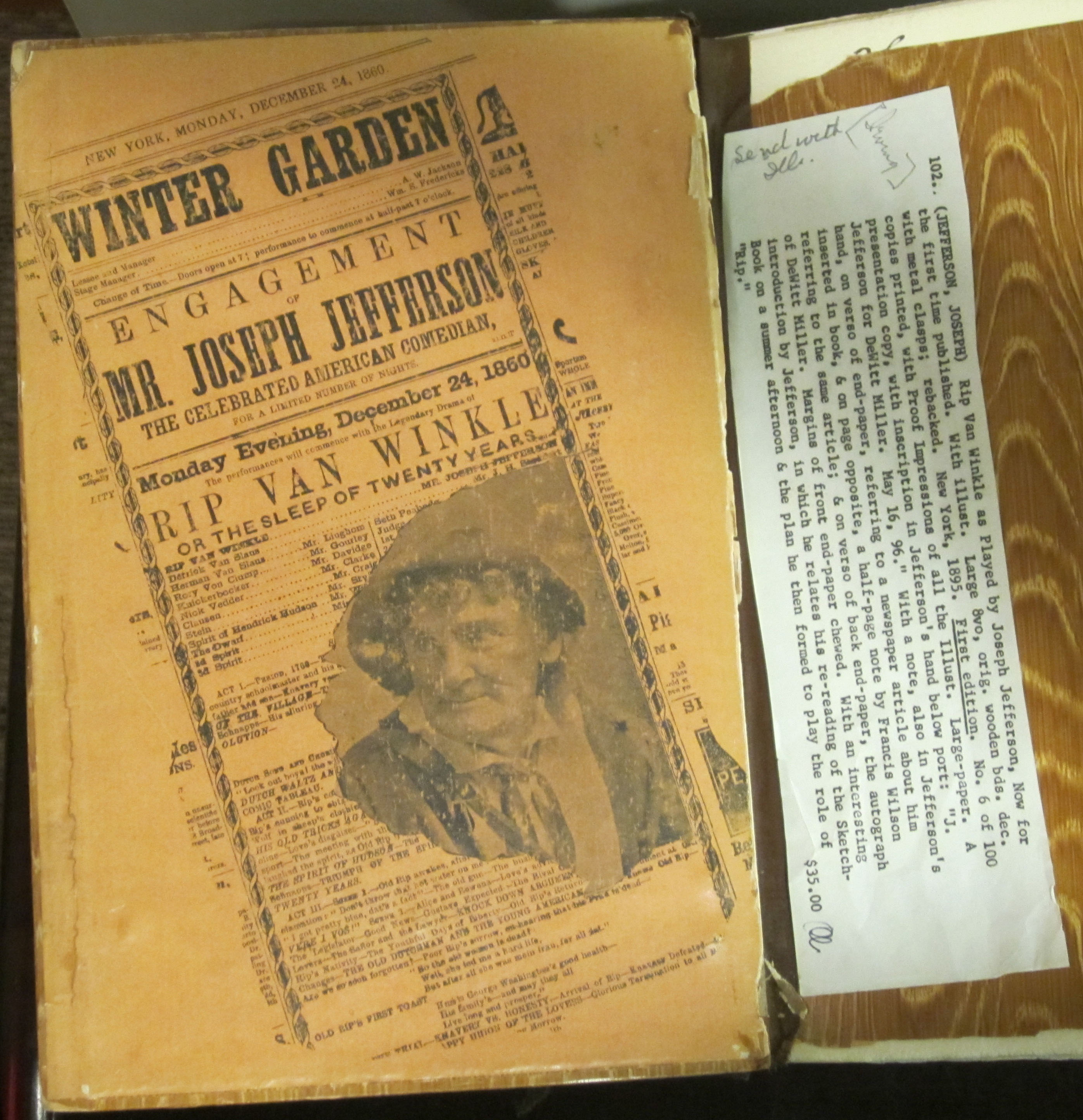 Front cover endpaper of Rip Van Winkle as Played by Joseph Jefferson. ()