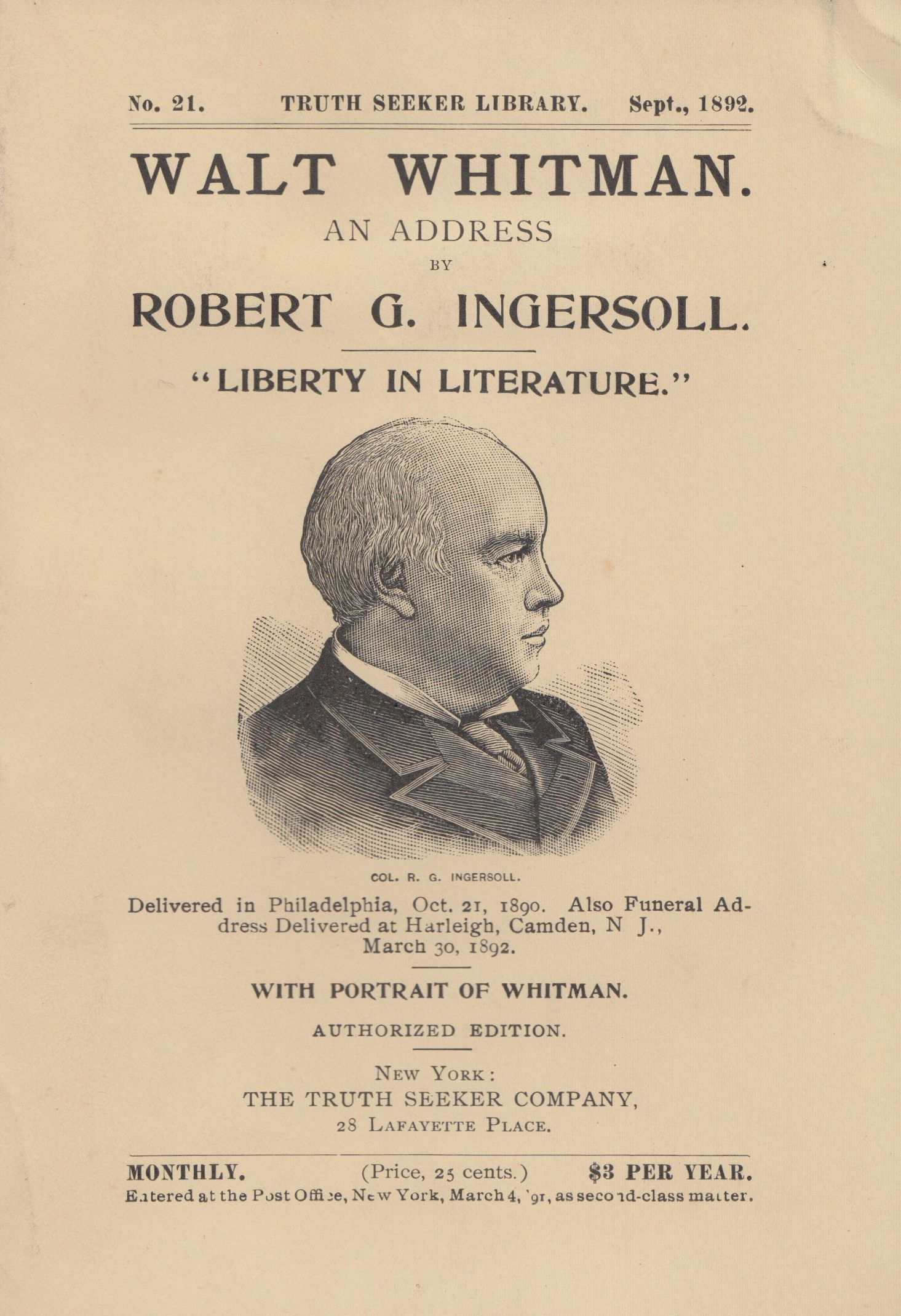 Shown is the cover of an 1892 edition of Walt Whitman. An Address by Robert G. Ingersoll. (PS 3232 .I5 1892. Clifton Waller Barrett Library of American Literature. Image by Petrina Jackson)