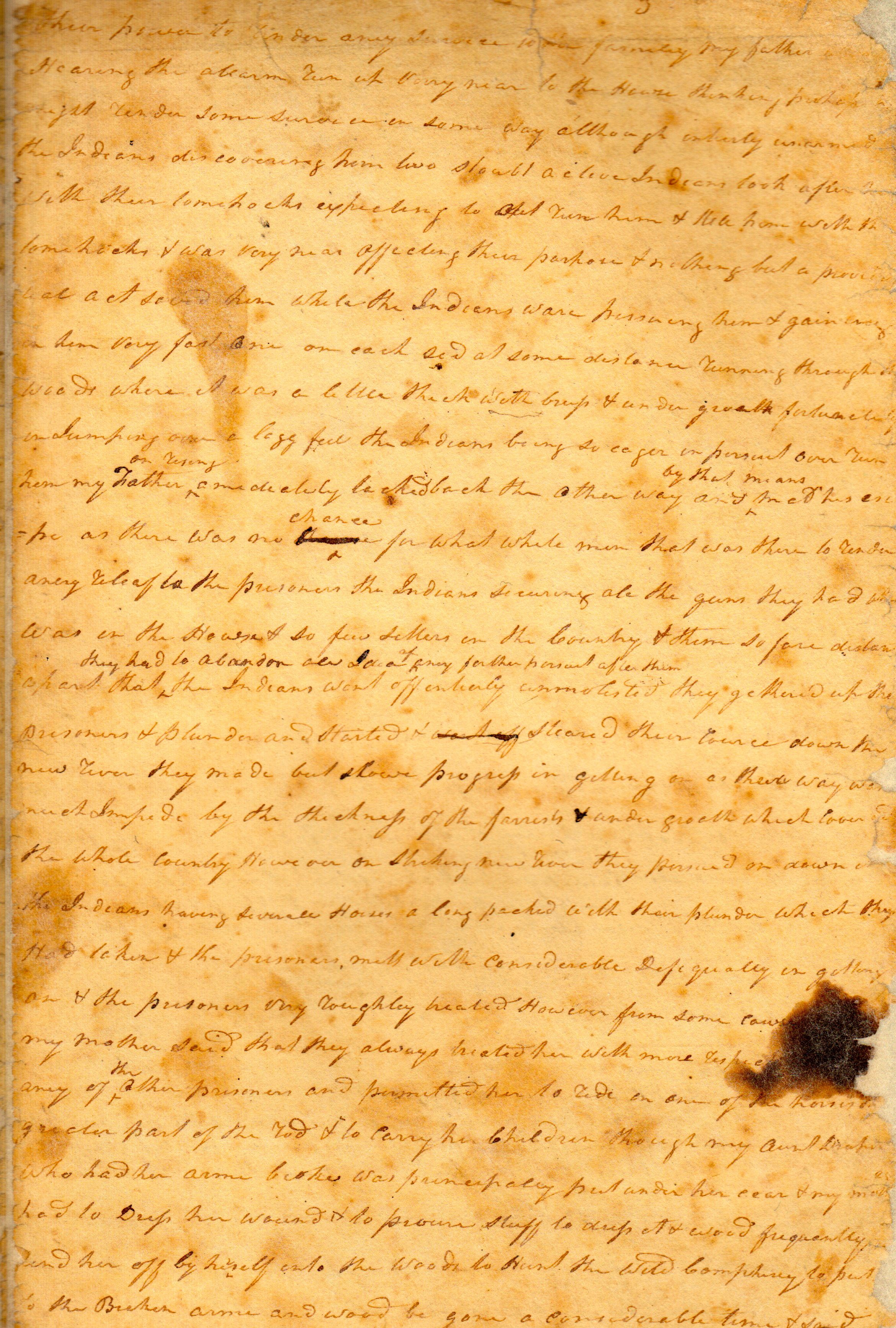 Page 3 of John Ingles' handwritten manuscript, which was later published as a Escape From Indian Captivity: The Story of Mary Draper Ingles and son Thomas Ingles, ca. 1825. (MSS 38-246. Image by Petrina Jackson)