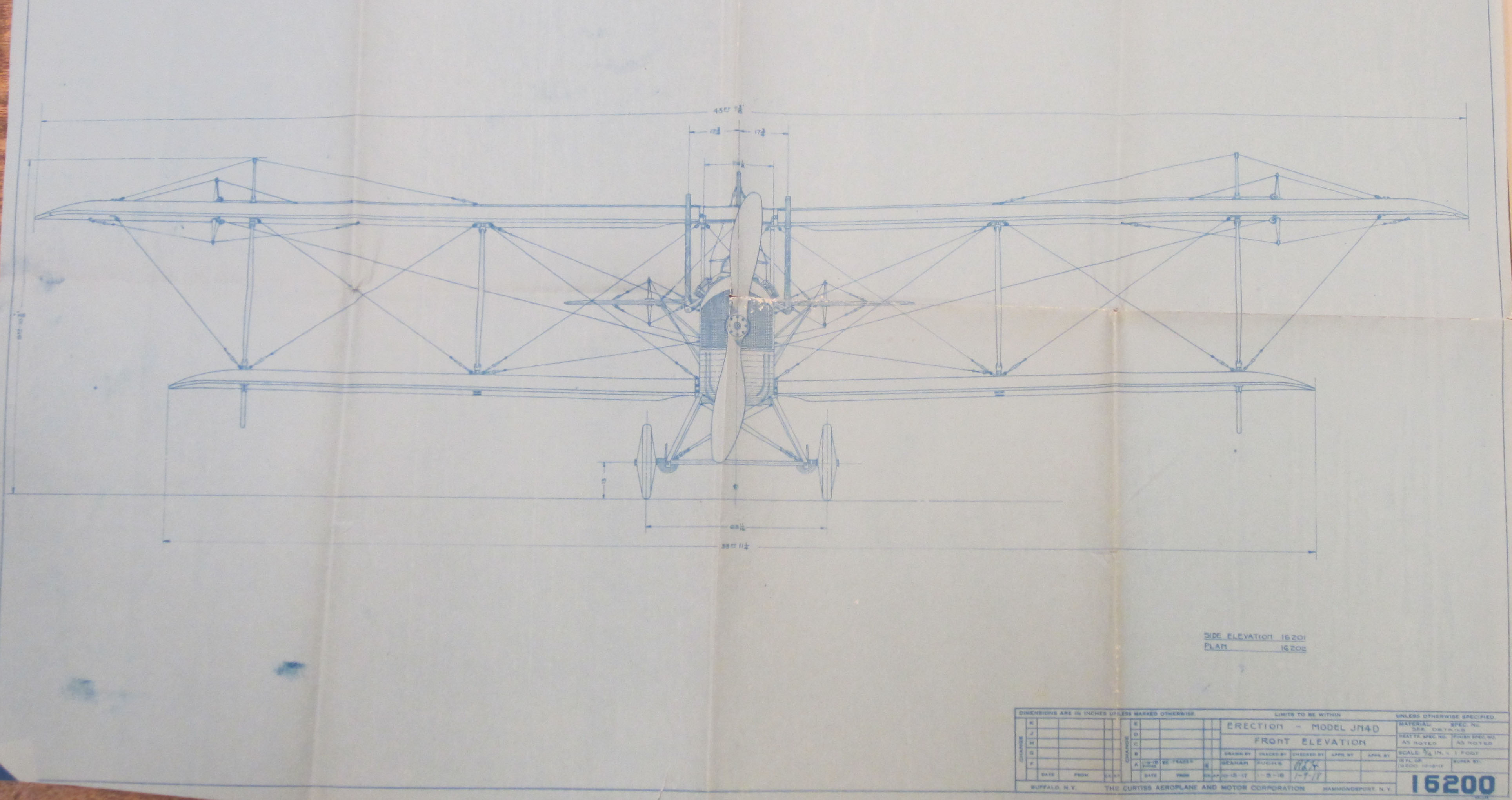 Blueprint of the front elevation for the model J-N-4-D airplane, built by the Curtiss Aeroplane Company of Hammondsport, N.Y., later the Curtiss Aeroplane and Motor Company, 1917-1918. (MSS 10875-bv. Photograph by Petrina Jackson)