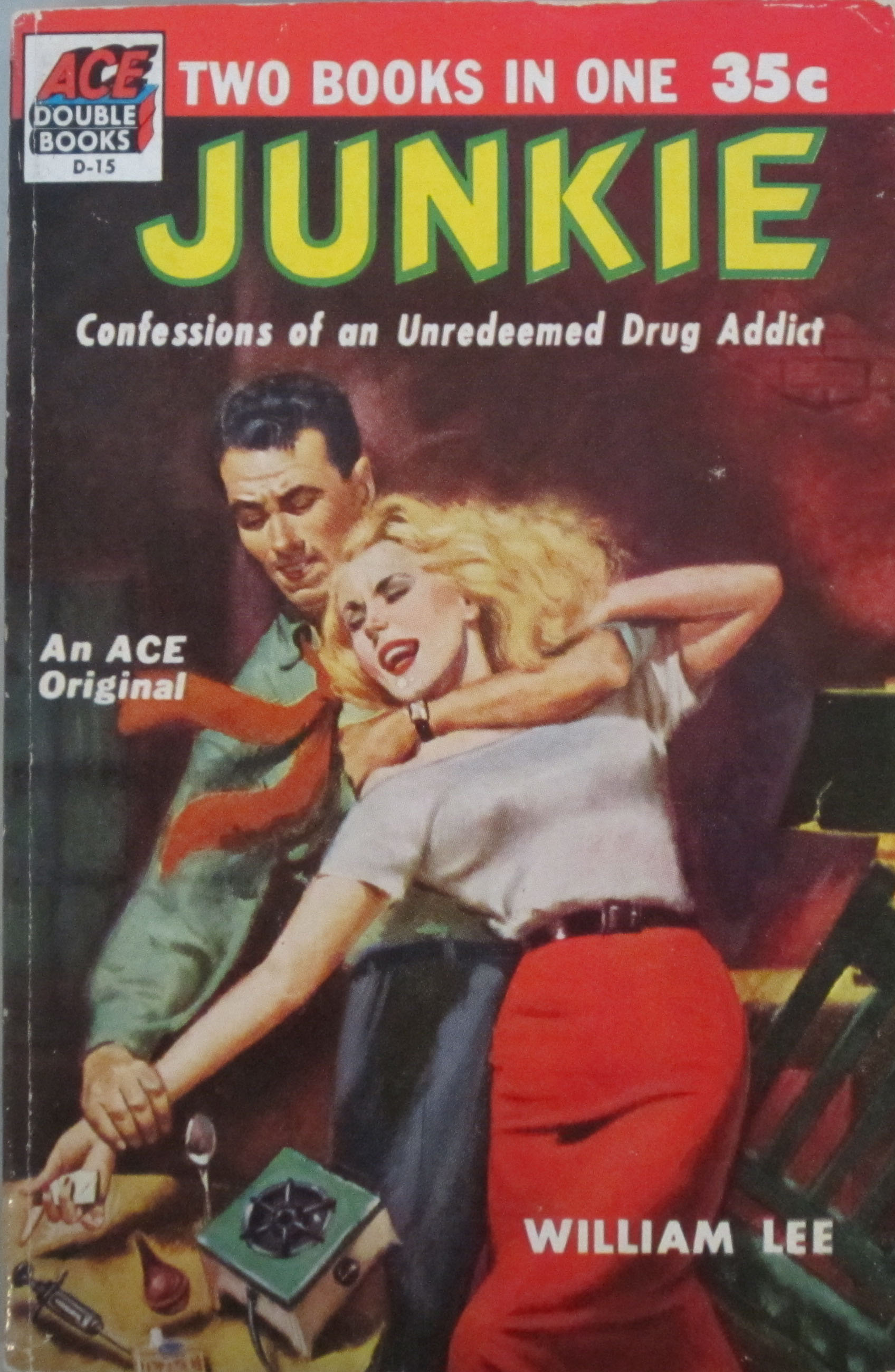 Cover of Junkie, published by ACE Double Books, 1953. (PS3552 .U75 J8 1953. Marvin Tatum Collection of Contemporary Literature. Photograph by Petrina Jackson )