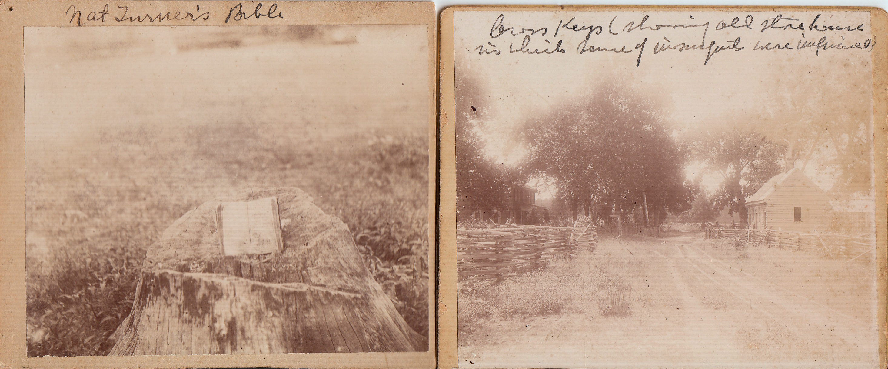 Photographs of Nat Turner's Bible and Cross Keys (showing old store house in which some of the insurgents were imprisoned), ca. 1900. (MSS 10673. Image by Petrina Jackson)