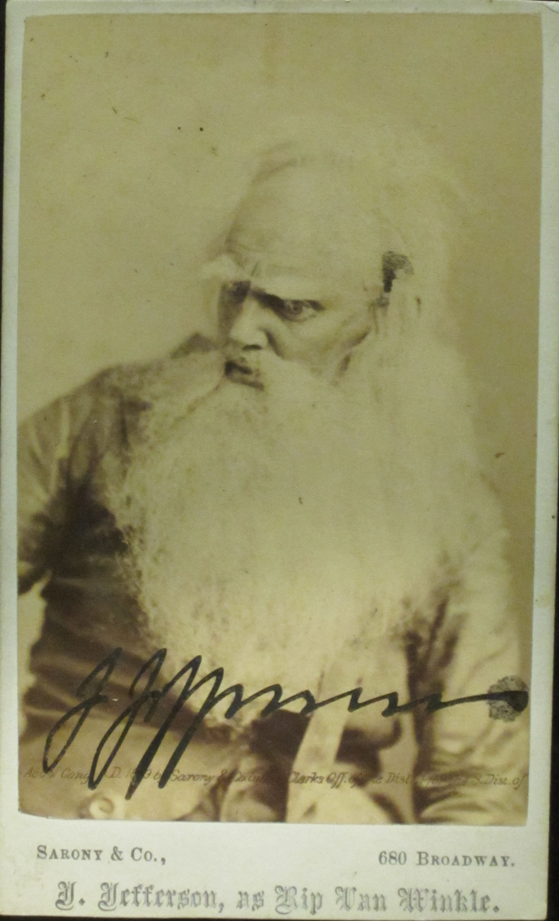 "Autographed carte de visite of Joseph Jefferson as ""old"" Rip Van Winkle. Barrett Print Files. Clifton"