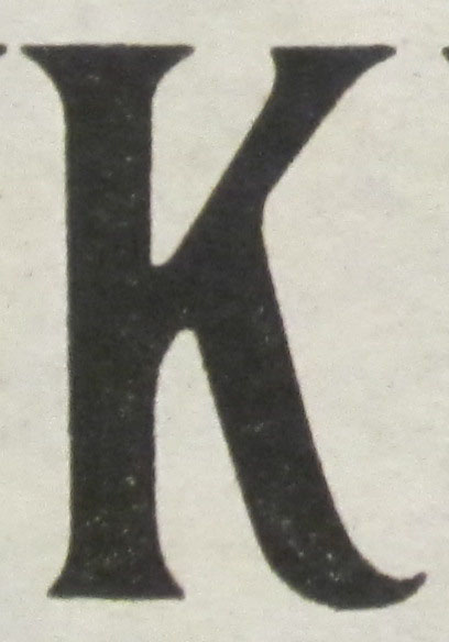 "K is for ""1908"" Classic ""Plug,"" which is one of 75 alphabets represented in Frank H. Atkinson's Atkinson Sign Painting up to Now: A Complete Manual of Sign Painting. Chicago: Frederick J. Drake & Co., 1915 (not yet catalogued. Gift of Nicholas Curtis. (Photograph by Petrina Jackson)"