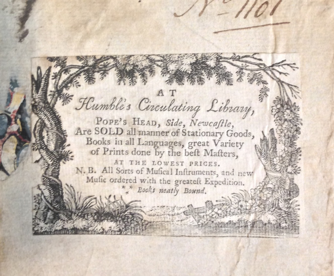 The Small Special Collections Library possesses two copies of the London, 1786 edition. One is in a fine binding with distinguished provenance. The other, rather shabby copy is even more interesting, for it bears the contemporary wood-engraved label--by Thomas Bewick, no less!--of Humble's Circulatign Library in Newcastle.