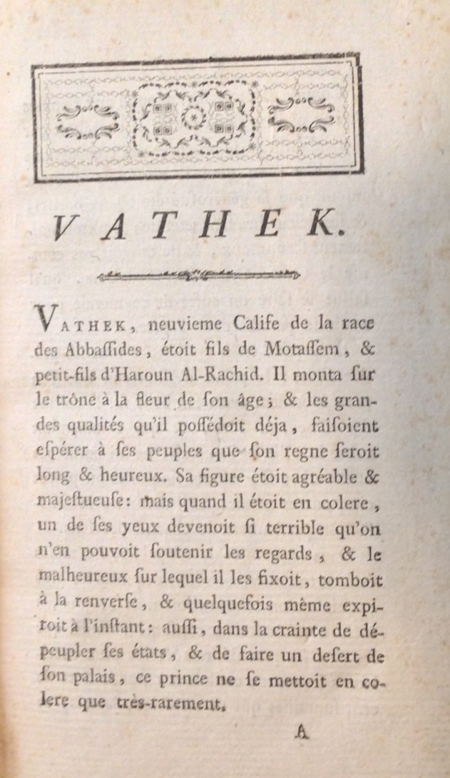 And for comparison, the first page of Beckford's French text, as it appeared in the Lausanne, 1787 edition.