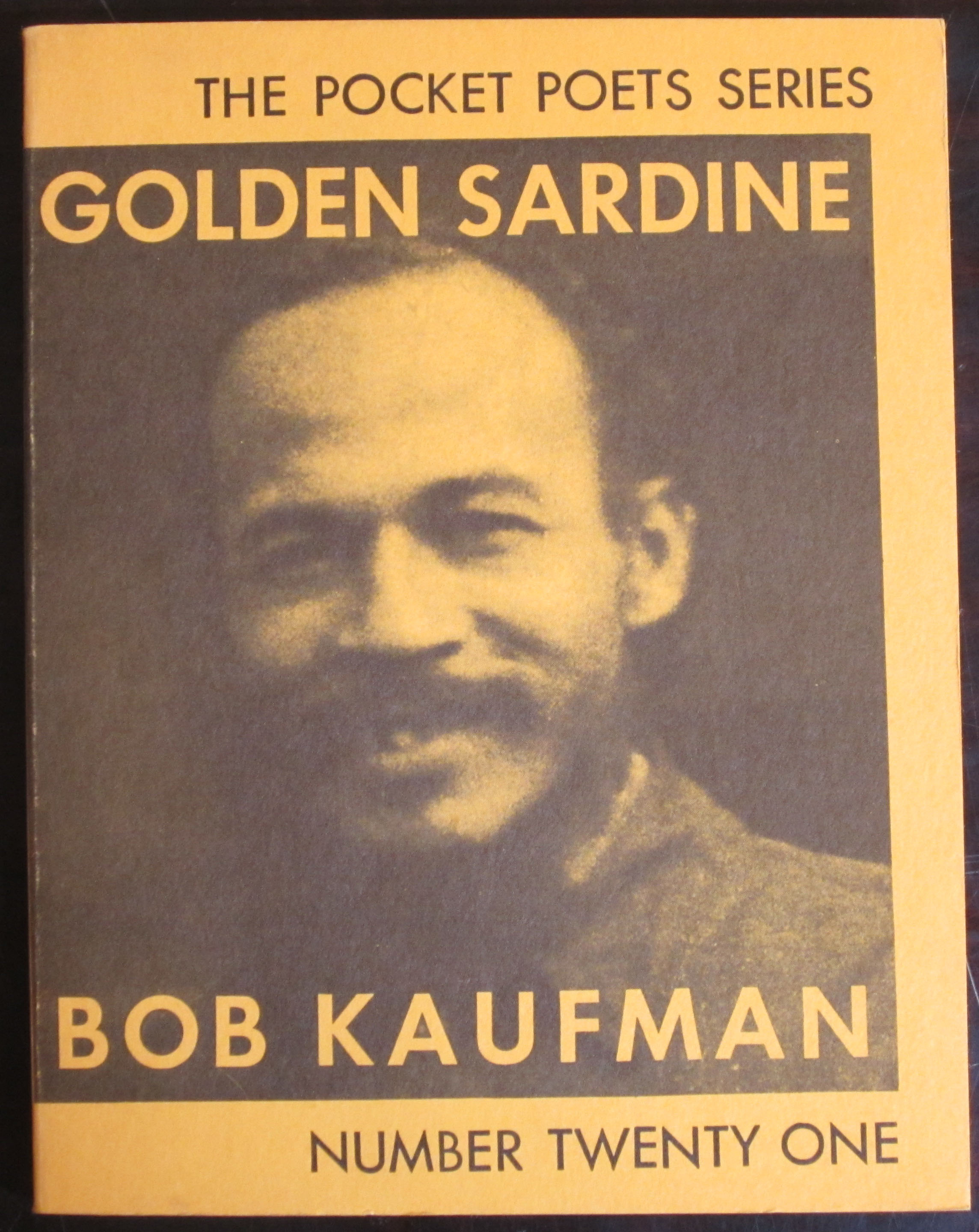 Bob Kaufman on the cover of his book of poetry, Golden Sardine from the Pocket Poets Series, 1967. (PS3521 .A7265G6 1967. Photograph by Petrina Jackson)