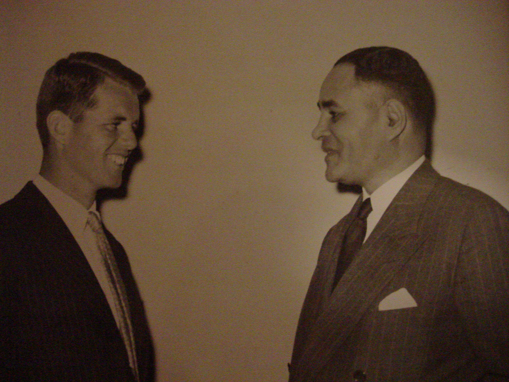Robert Kennedy and Ralph Bunche at Student Legal Forum, held at U.Va. on 26 March 1951. (Prints File. Photograph of print by Donna Stapley)