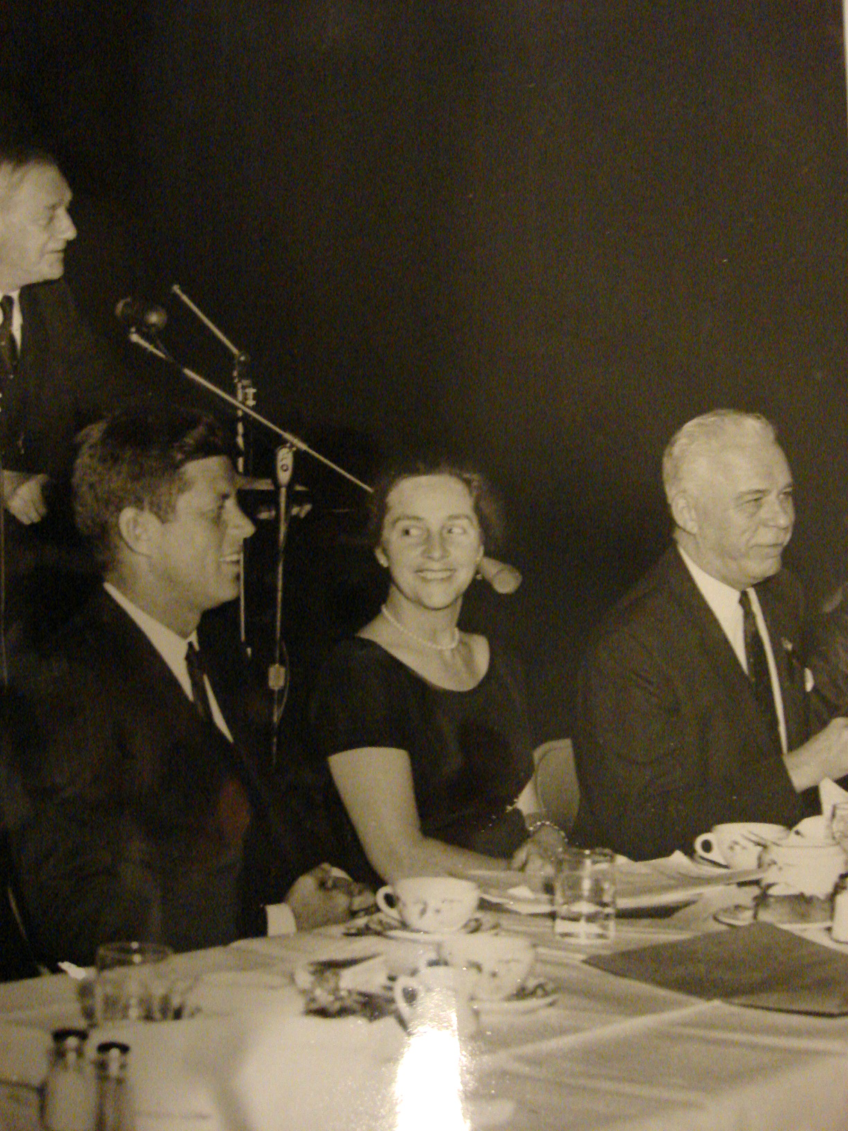 Photograph of John Kennedy and Mrs. Colgate Darden (seated) by U.Va. photographer Ralph Thompson (Prints File. Photograph of print by Donna Stapley)
