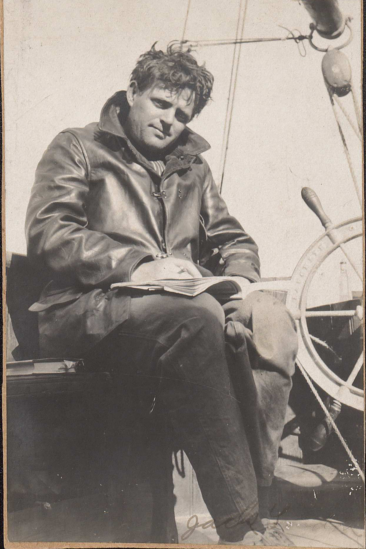 Signed photograph of Jack London, ca.1907-1908, , box 2, folder 39 Photo taken on board the Snark, the sailboat upon which he cruised the South Pacific for 27 months with his wife Charmian. (MSS 6240. Clifton Waller Barrett Library of American Literature. Image by Caroline Newcomb)