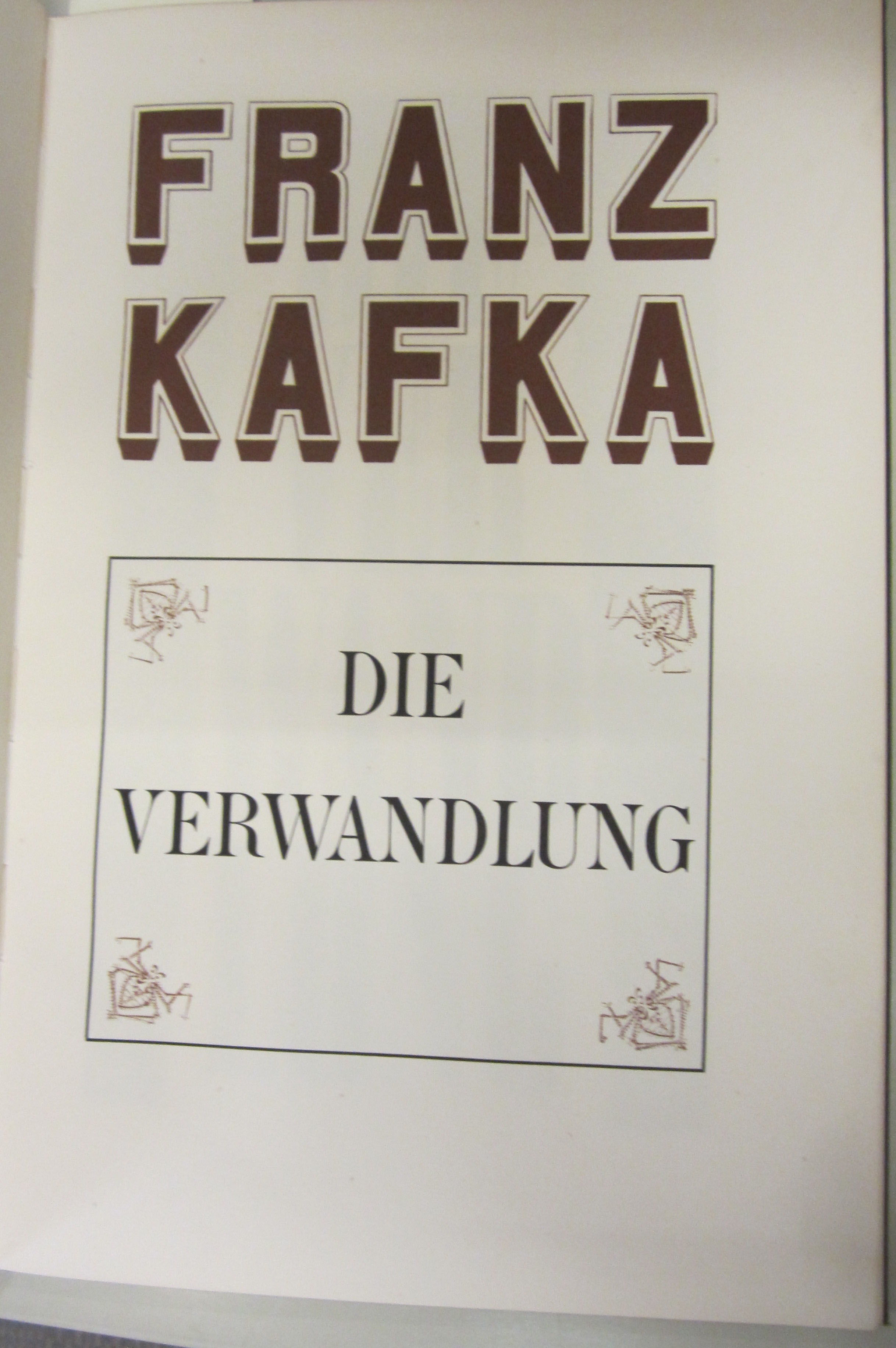 Cover of Die Verwandlung (The Metamorphosis) by Franz Kafka, 1948. (PT2621 .A26 V4 1948. Gift of Paul E. Rieger. Photograph by Anne Causey)