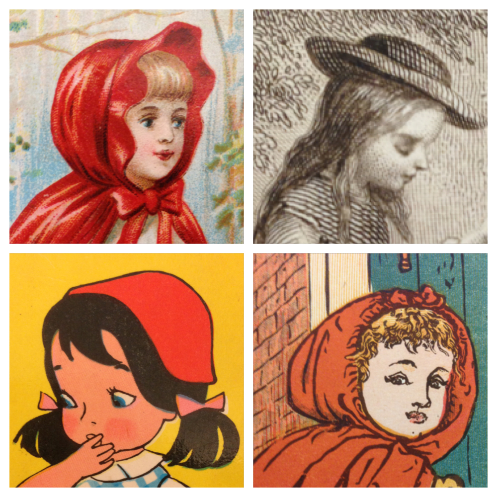 "Clockwise from top left, these Reds Riding Hoods appear in the following books, which are not yet cataloged: ""Little Red Riding Hood, (London: Tuck, [1890]); ""Les Contes de Perrault"" (Paris: Librairie de Theodore Lefevre, n.d.); ""Walter Crane's Toy Books: Little Red Riding Hood"" ([London]: George Routledge, n.d.); ""Rotkappchen"" (n.p: n.p., n.d.). [xx(6134166.1). Photograph collage by Molly Schwartzburg]"