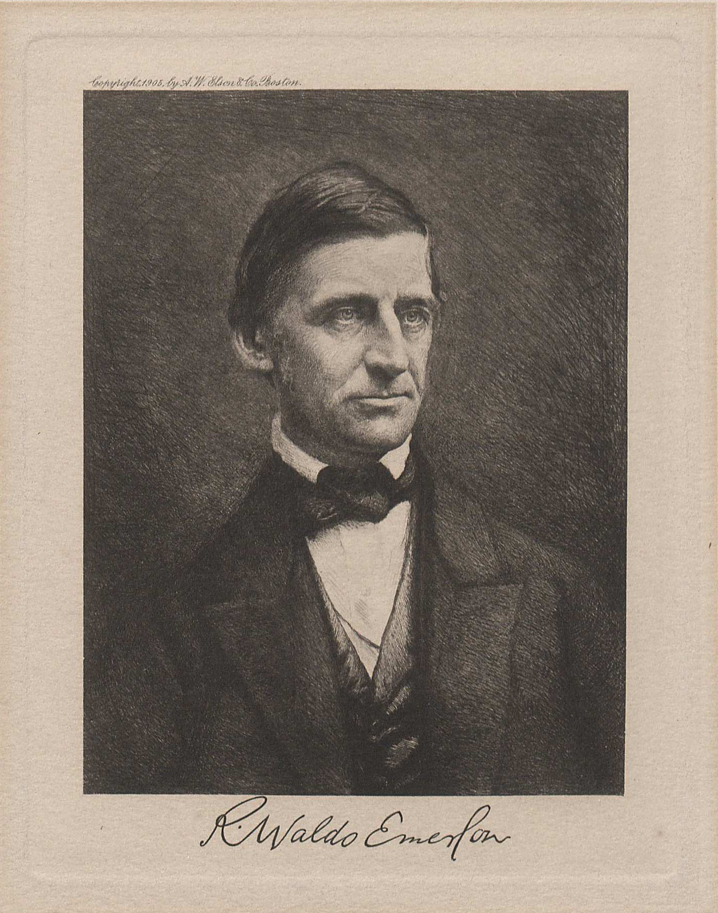 Autographed engraving of Ralph Waldo Emerson (MSS 6248. Clifton Waller Barrett Library of American Literature. Image by Petrina Jackson)