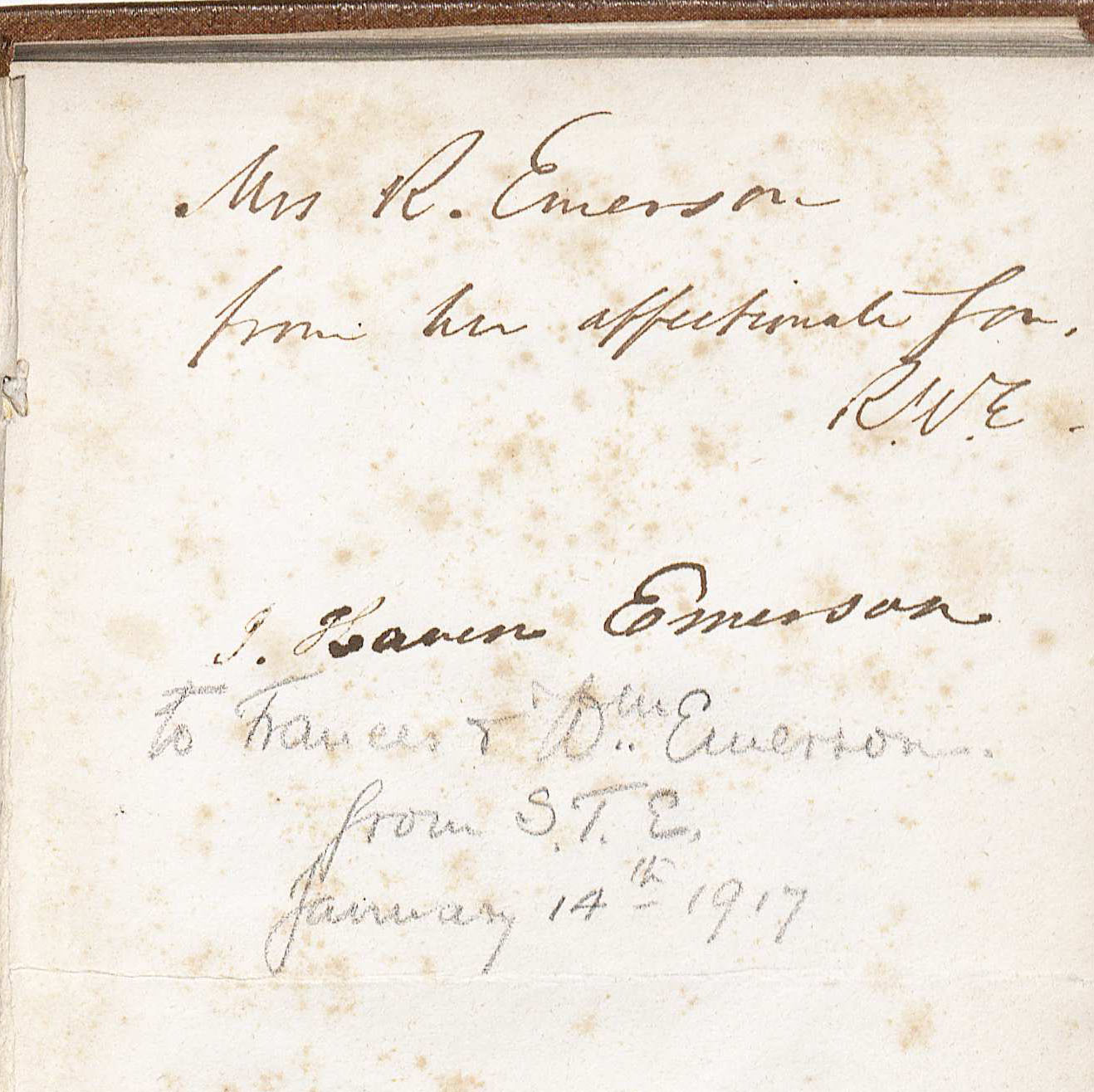 Detail of the inscription from Emerson to his mother on the endpapers of Nature. (Image by Petrina Jackson)