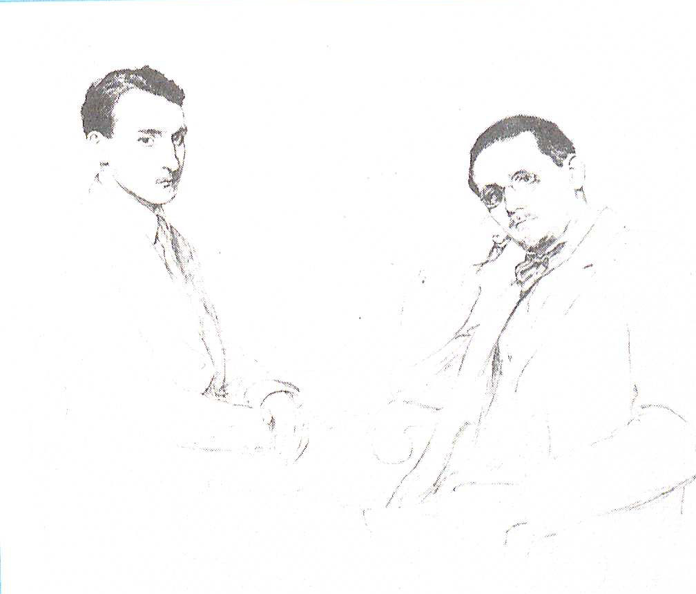 A sketch by Emil Becat of Robert McAlmon and James Joyce on the back cover of McAlmon and the Lost Generation (PS3525 .A1143 Z53 1962. Clifton Waller Barrett Library of American Literature. Image by Petrina Jackson)