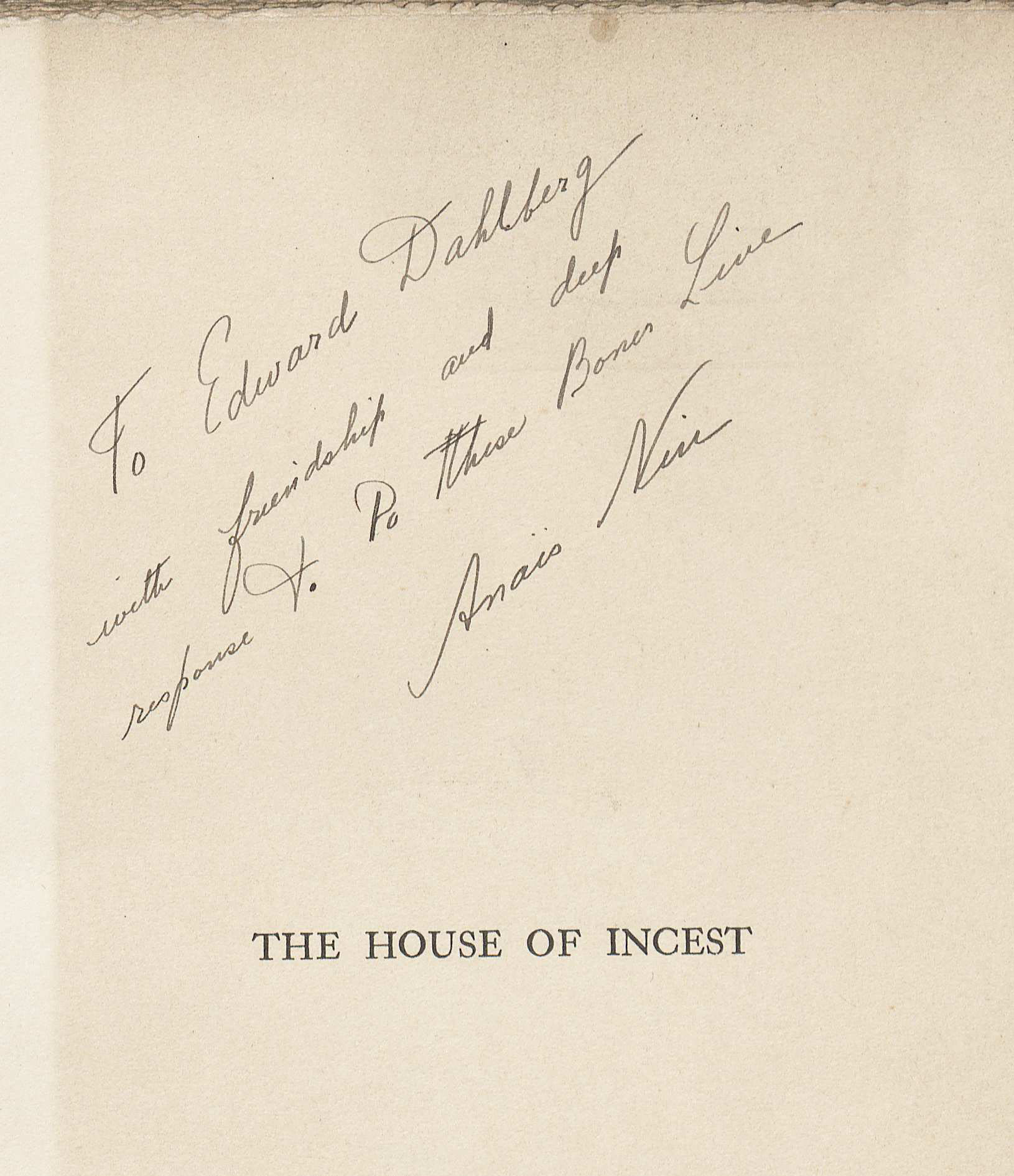 Anais Nin's incription to Edward in her book The House of Incest. (PS3527 .I865H6 1936. Image by Anne Causey)