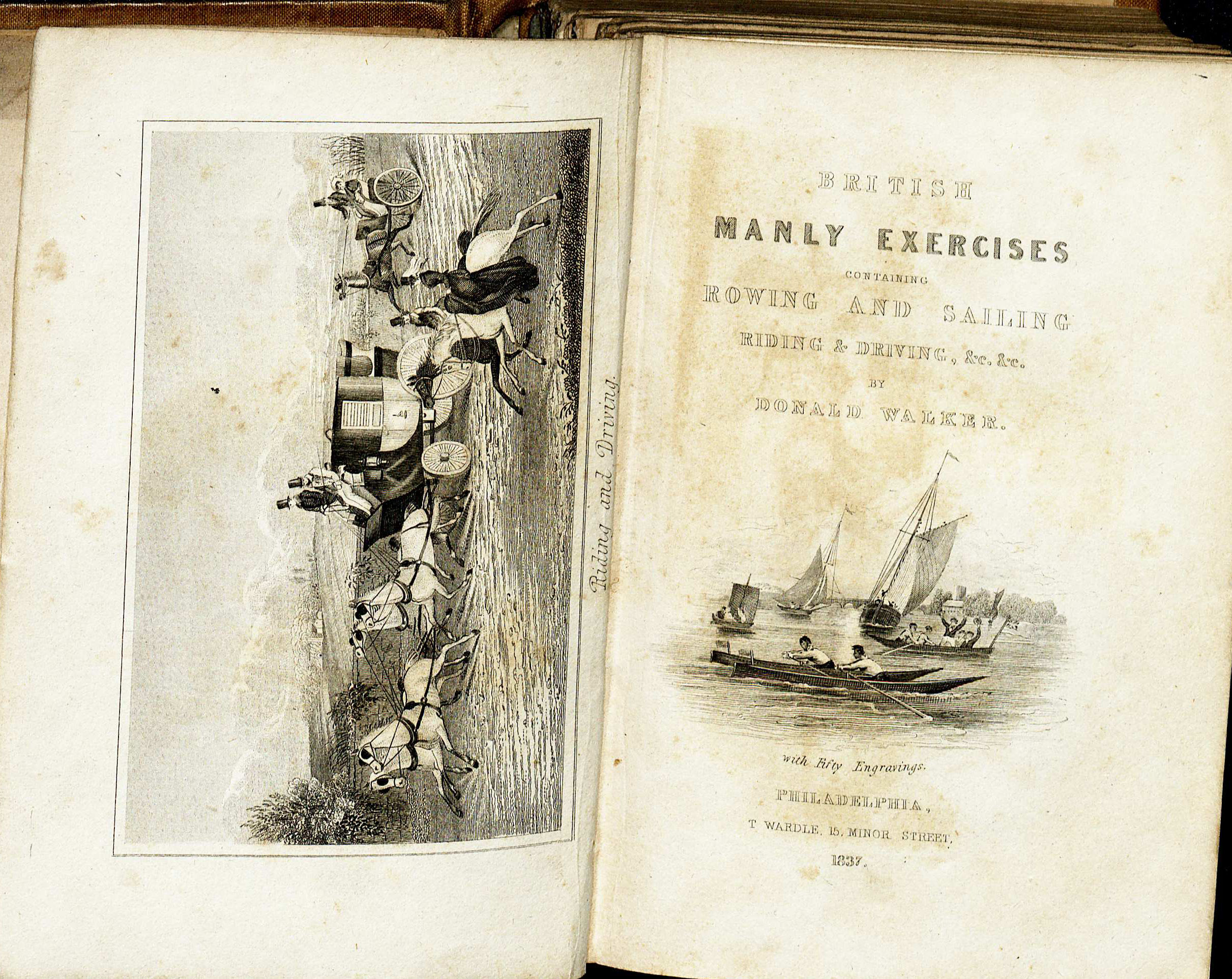 Frontispiece and title page of British Manly Exercises by Donald Walker. (GV703.W3 1837. Image by Anne Causey )