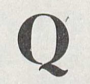 """Q"" from the ""Cut Roman"" font.  From Design of the Roman Letters by L'Harl Copeland, 1966. (Z114 .C75 1966. Gift of Mrs. Oscar Ogg. Image by Petrina Jackson)"