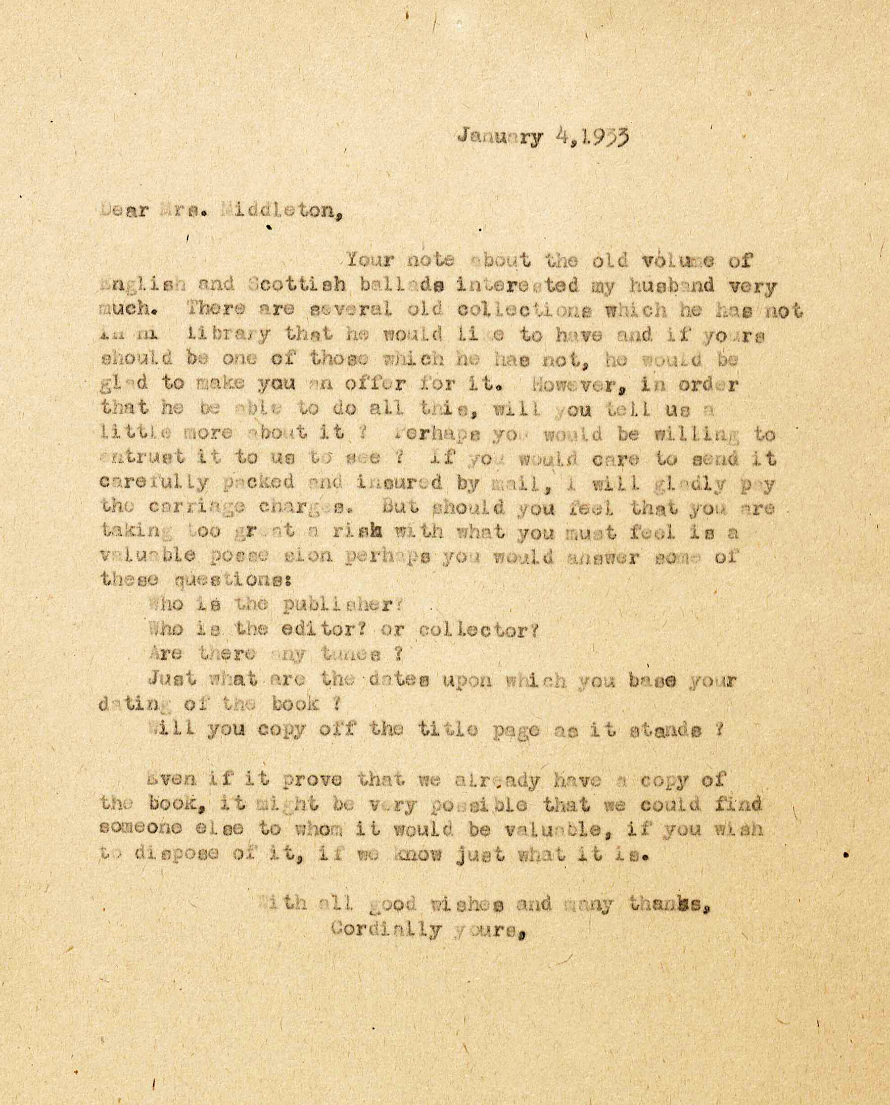 Powell letter to , 1933 (Image by Caroline Newcomb)