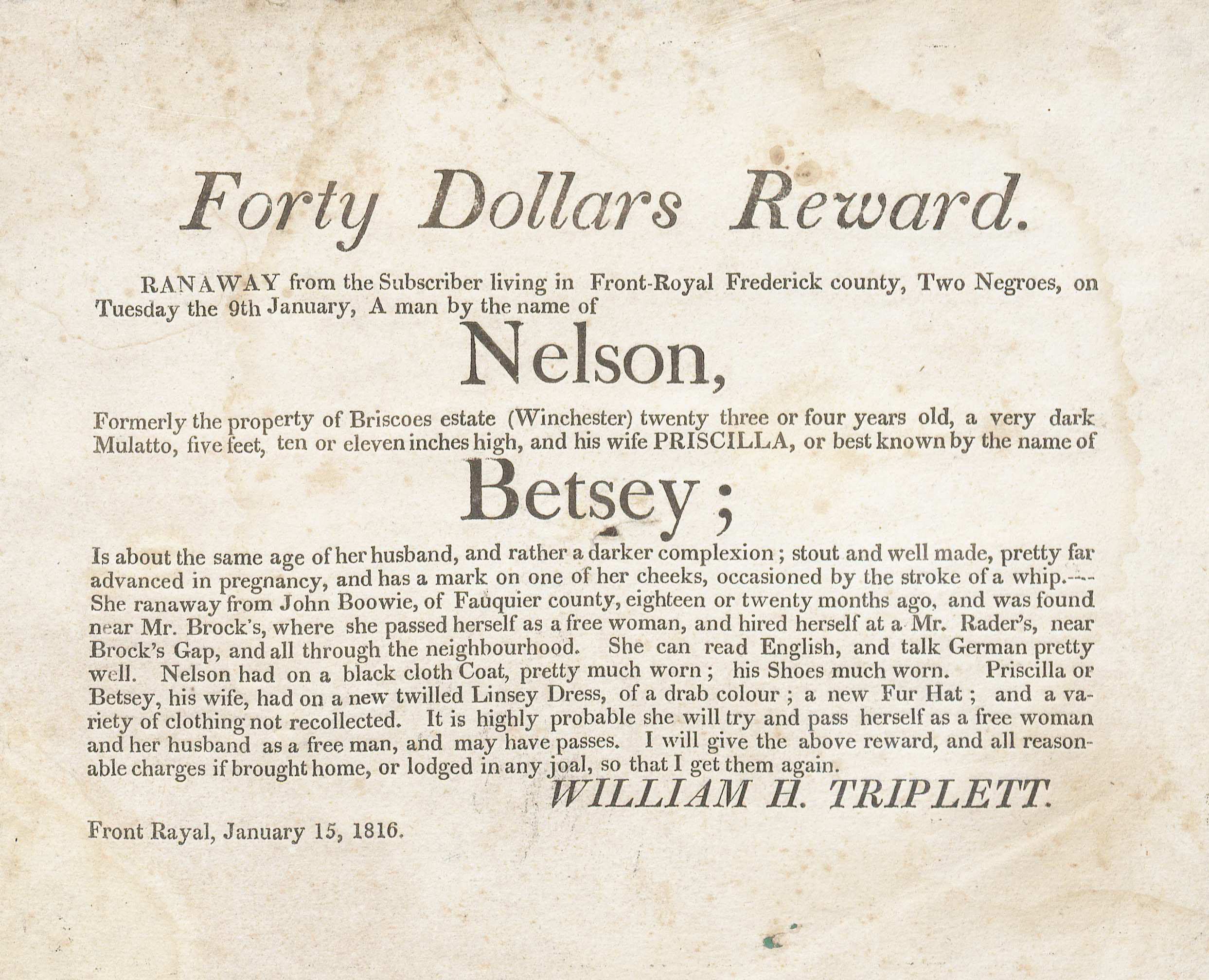 Runaway advertisement, 1816. (Broadside 1816. Image by Petrina Jackson)