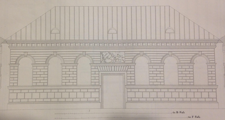 Facade of the riding academy designed by Jean Baptiste Metivier, from Grund-Plane, Durchschnitte und Facaden nebt Details der Reitbahm und Stallungen. Munich, 1836.  (NA8340 .M48 1836)