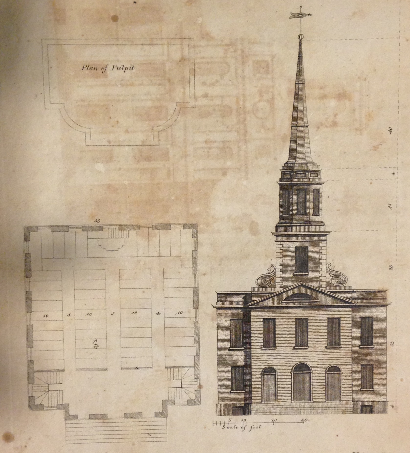 "Plan and elevation for a ""meetinghouse"" by Asher Benjamin."