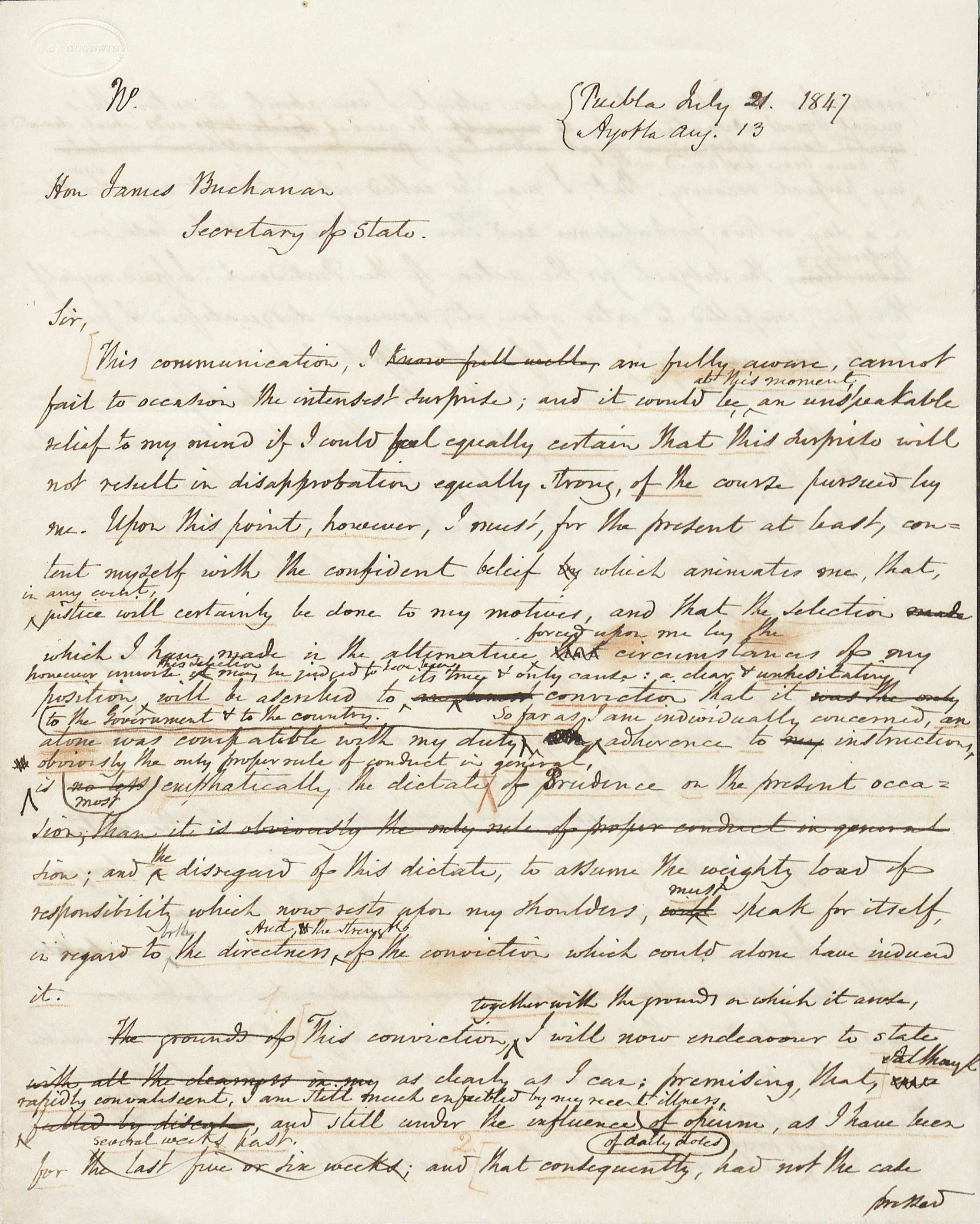 Letter draft from Nicholas Trist to James Buchanan, 1847 (Image by Petrina Jackson)