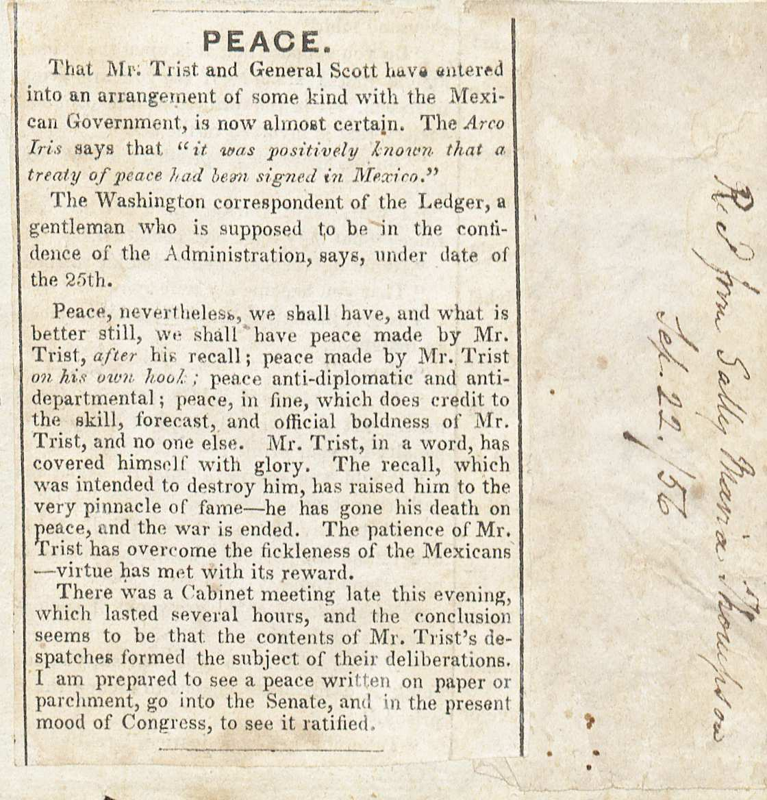 Newspaper clipping on the Mexican War peace settlement ()
