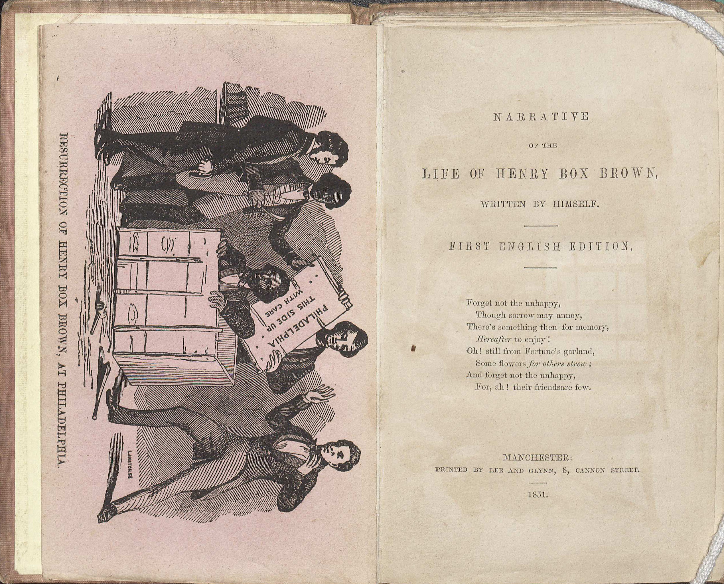 Frontispiece and title page of the Narrative and Life of Henry Box Brown, 1851. (A 1851 .B785. Tracy W. McGregor Library of American History. Image by Petrina Jackson.)