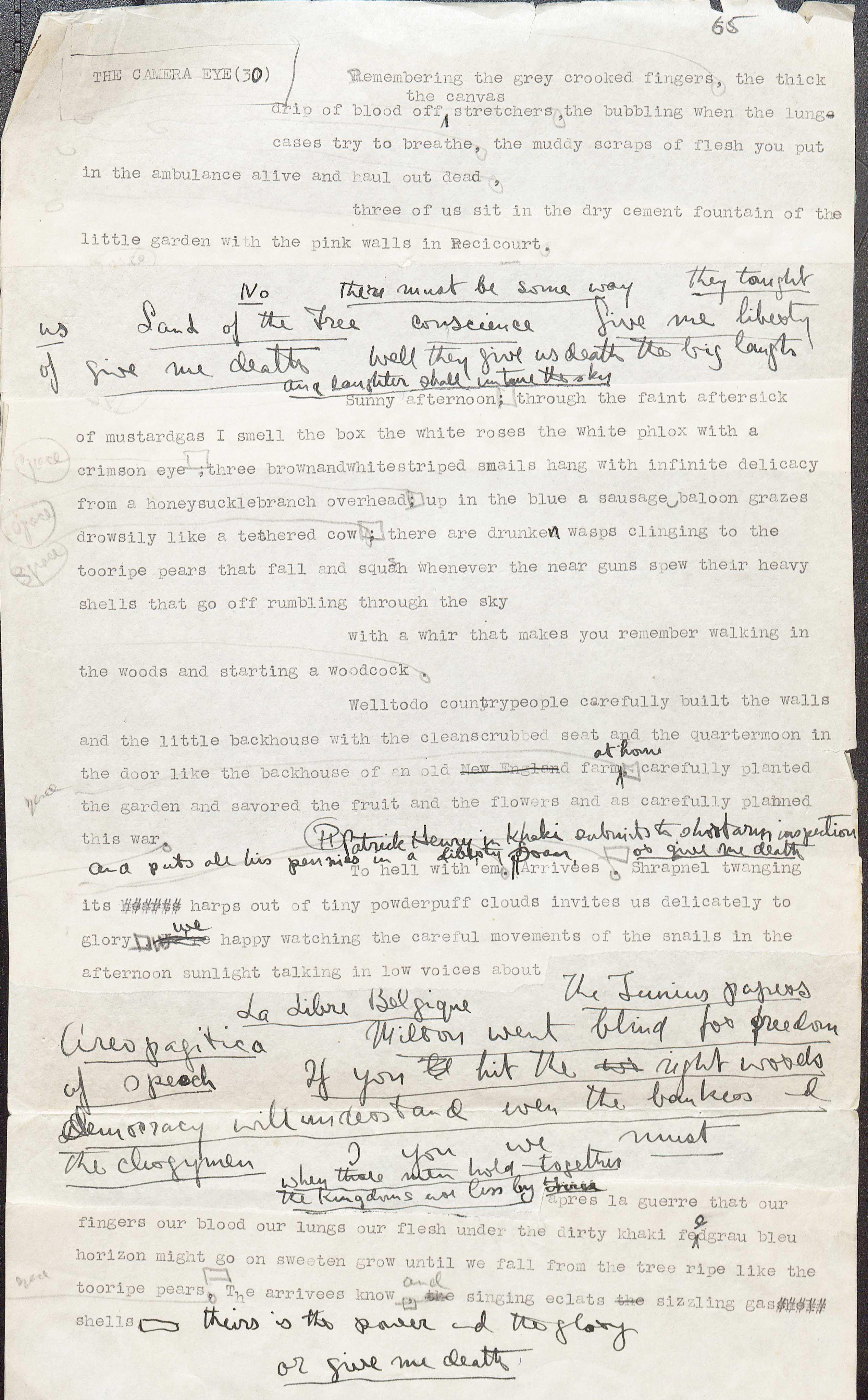 Manuscript draft of Nineteen Nineteen, ca. 1932. (MSS 5950. Image by Petrina Jackson.)
