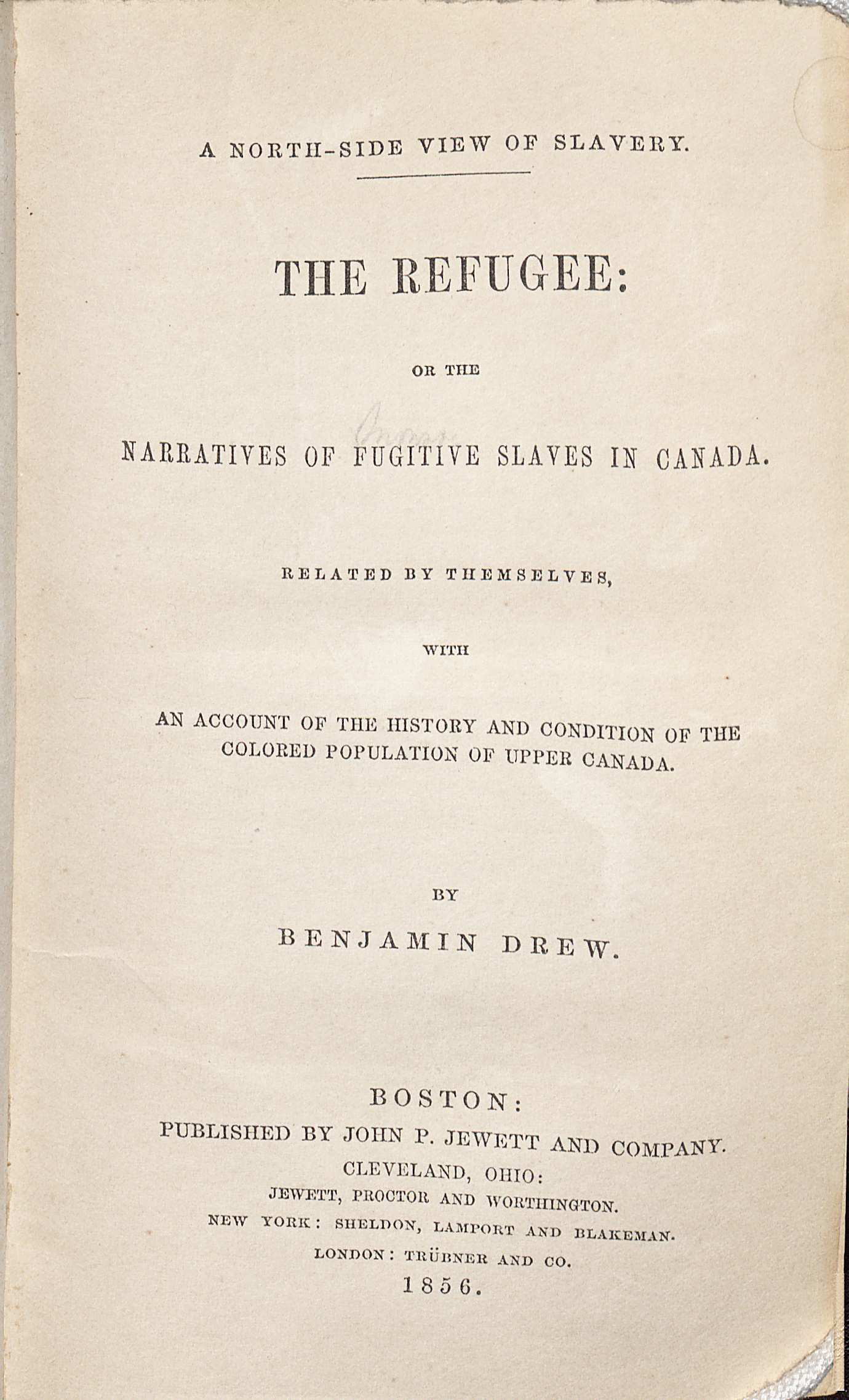 Title page of the Northside of Slavery, 1856. (E450 .D77 1856. Robert and Virginia Tunstall Trust Fund, 2006/2007. Image by Petrina Jackson.)