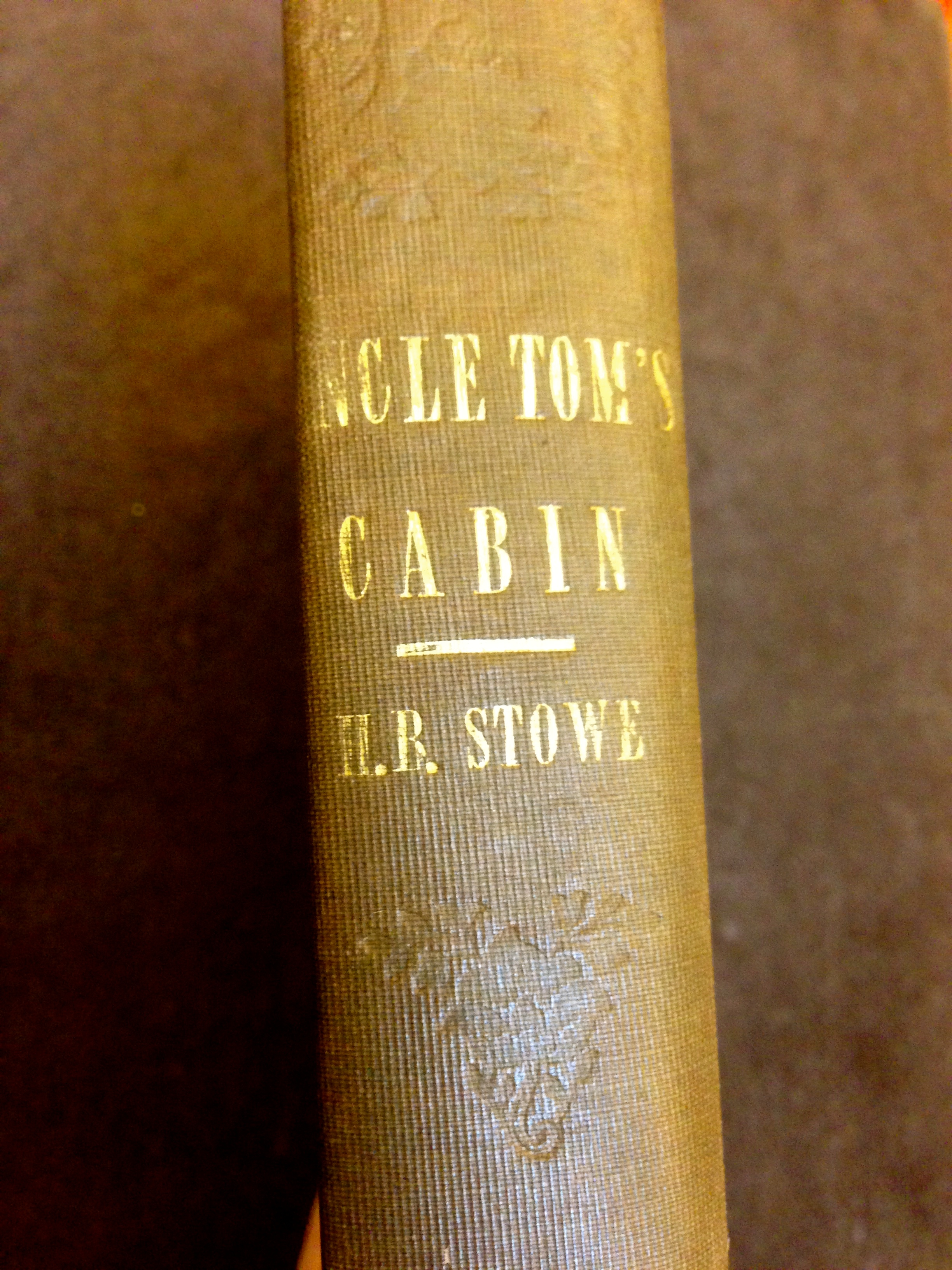 Spine of the first edition, first issue of Uncle Tom's Cabin.