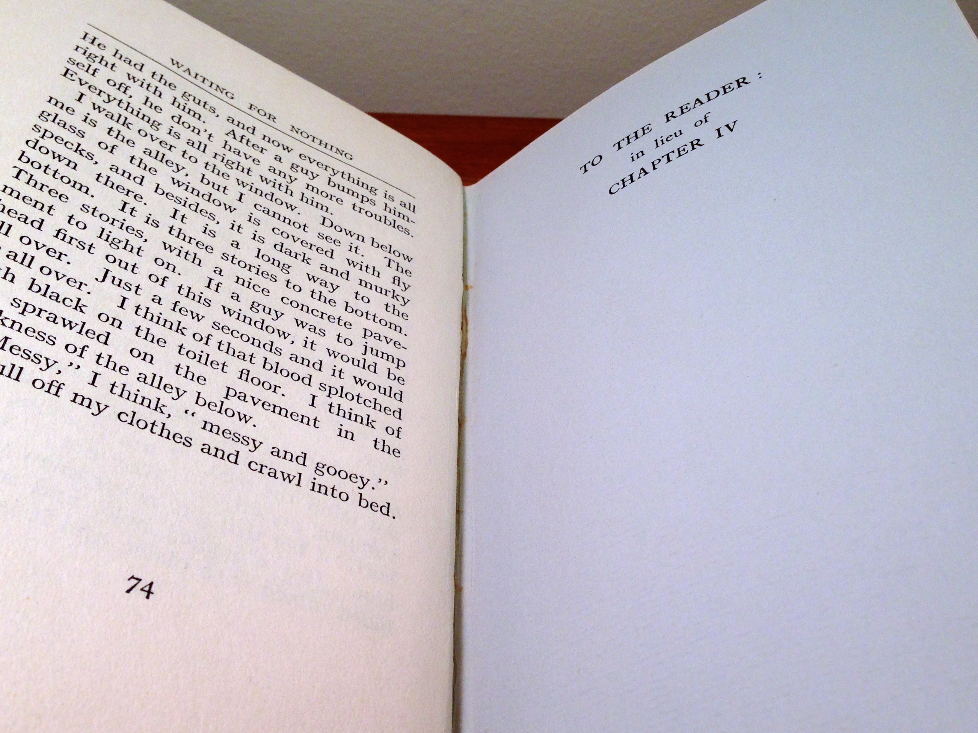 The page opening where chapter 4 is meant to appear in the first British printing of Nowhere to Run.
