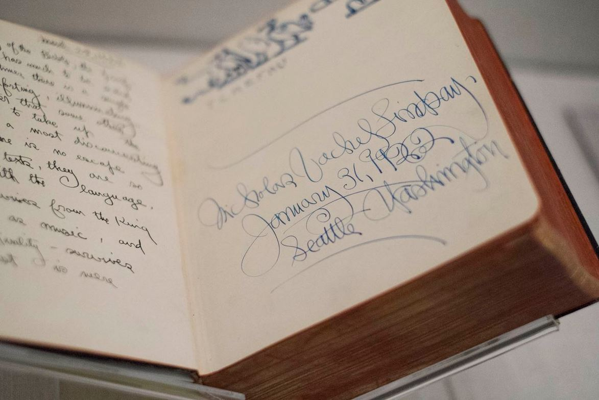 One of Vachel Lindsay's Bibles, inscribed with his elegant script, ready to be installed in the exhibition. (Photo by Sanjay Suchak)