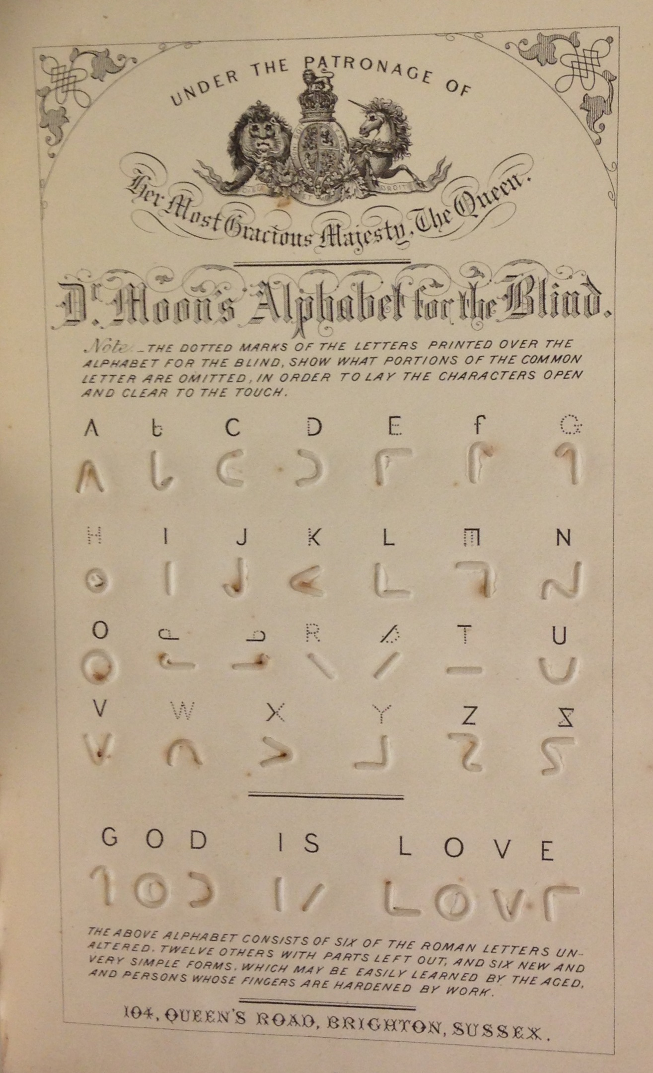 The Rev. William Moon's simplified manual alphabet, in Light for the blind: a history of the origin and success of Moon's system of reading (embossed in various languages) for the blind (London: Longmans & Co., 1873).  (HV1678 .M84 1873)